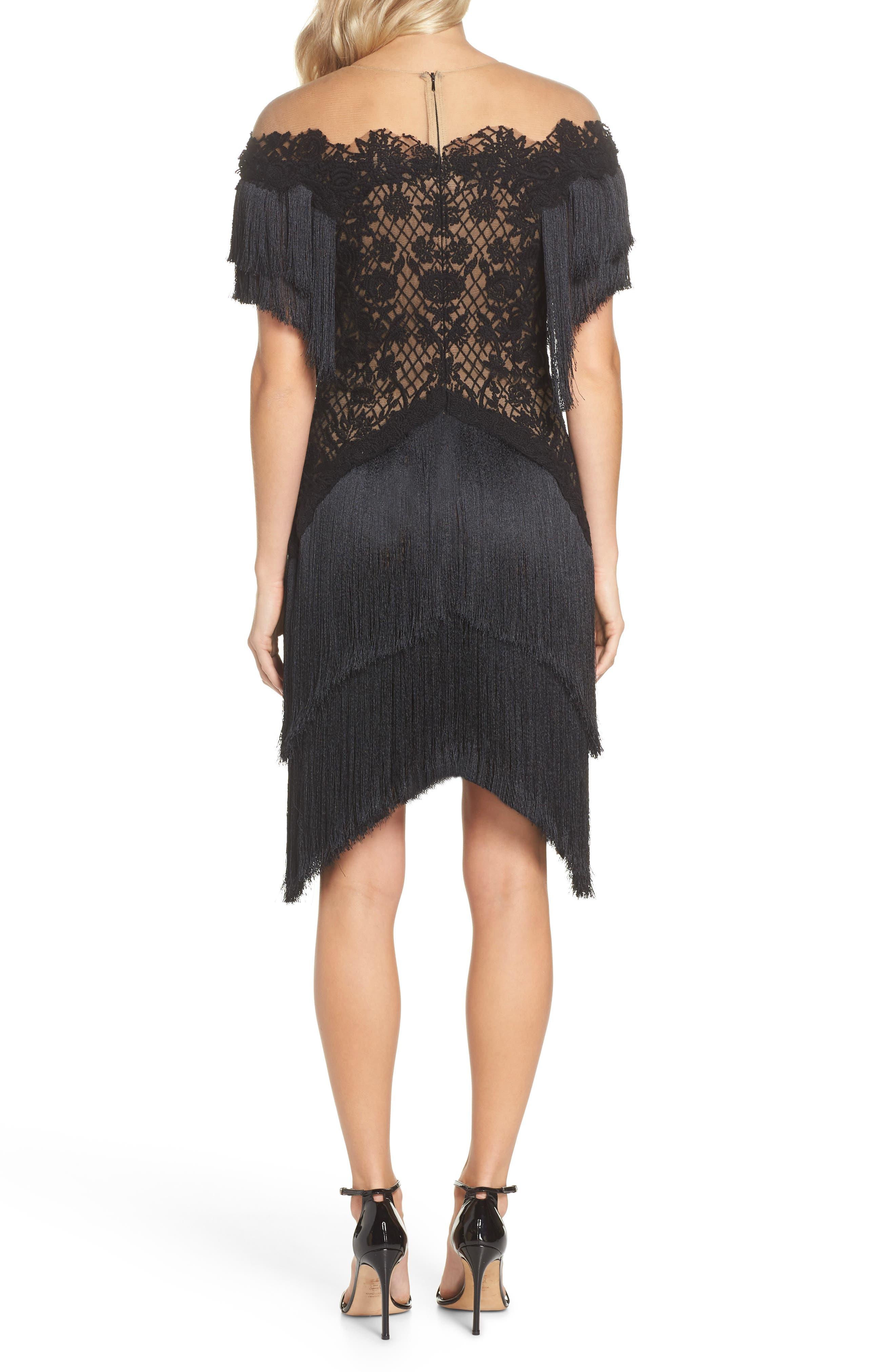 Off the Shoulder Fringe & Embroidered Mesh Dress,                             Alternate thumbnail 2, color,                             BLACK/ NUDE