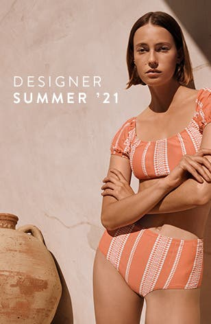 Designer summer '21: woman in two-piece bathing suit from lemlem.