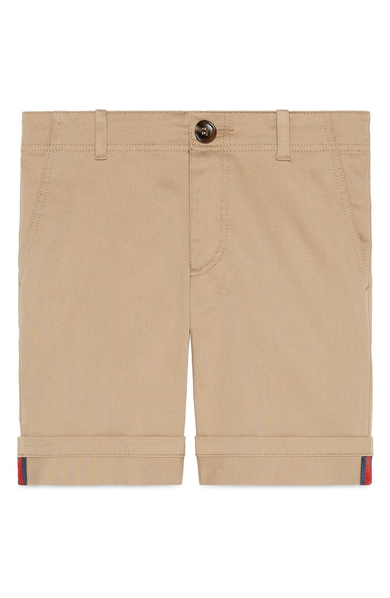Stretch Cotton Shorts,                         Main,                         color, BEIGE