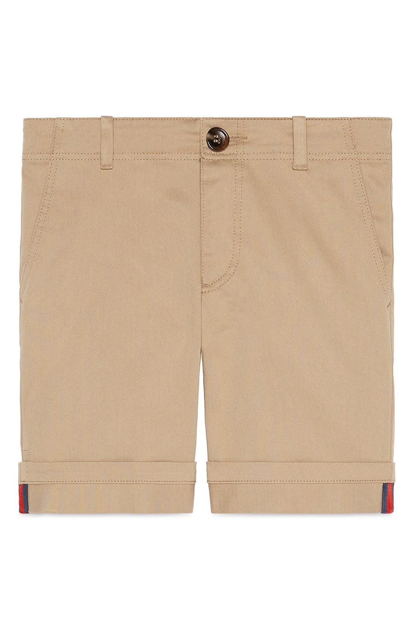GUCCI Stretch Cotton Shorts, Main, color, BEIGE