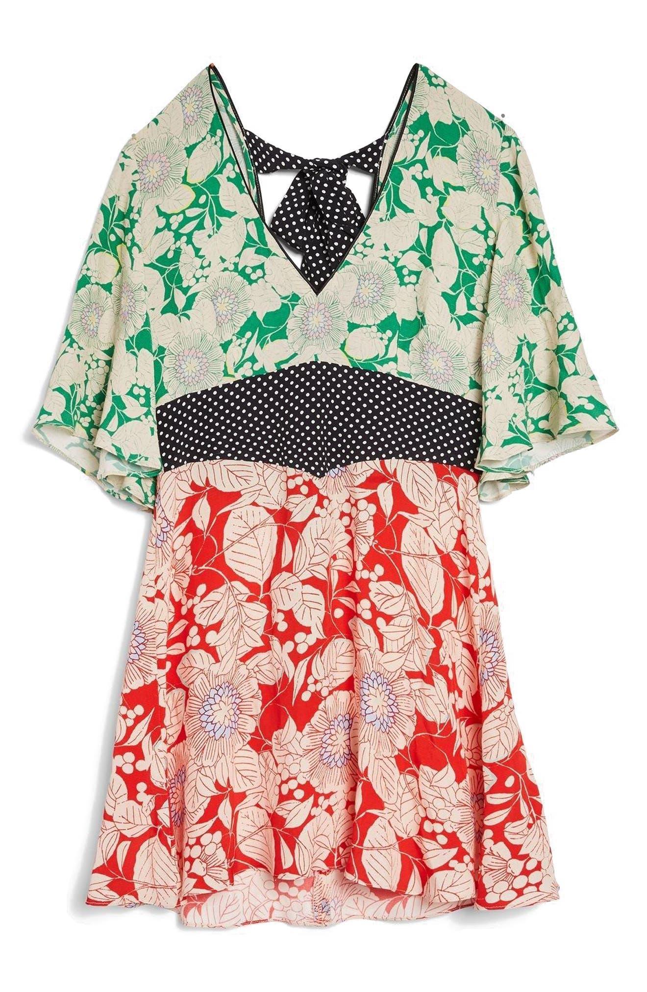 TOPSHOP,                             Mix Floral Print Minidress,                             Alternate thumbnail 4, color,                             600