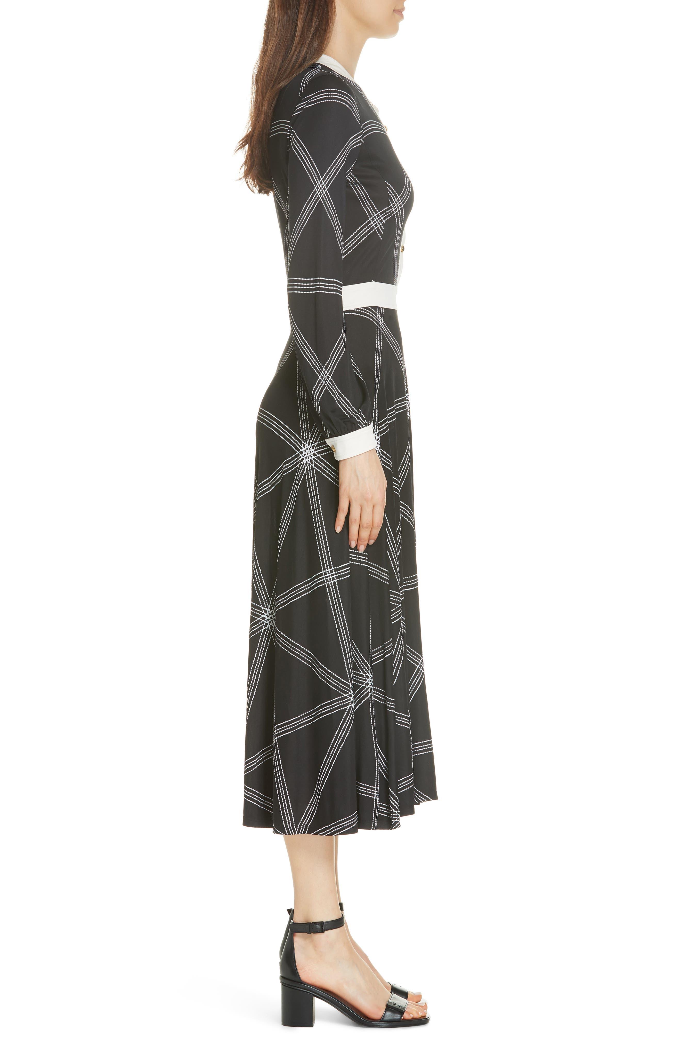 Anja Midi Dress,                             Alternate thumbnail 3, color,                             001