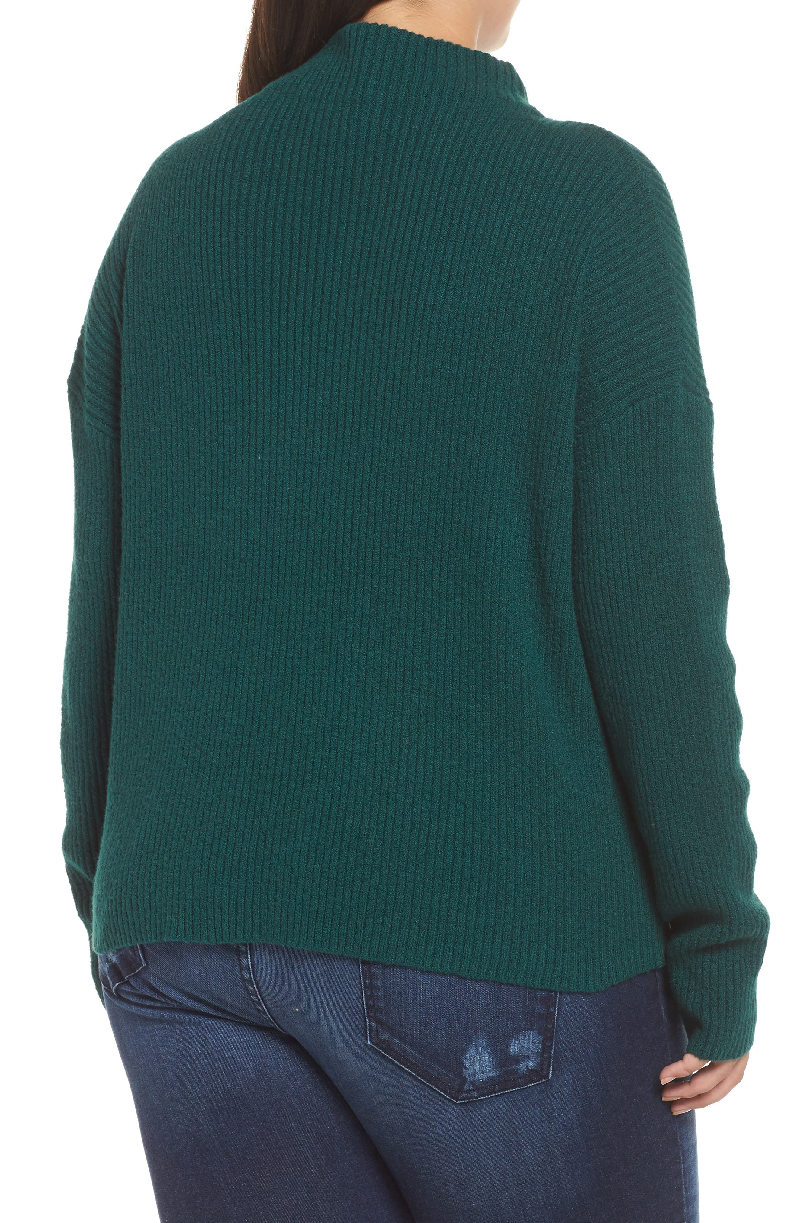 Ribbed Funnel Neck Sweater,                             Alternate thumbnail 2, color,                             GREEN BOTANICAL