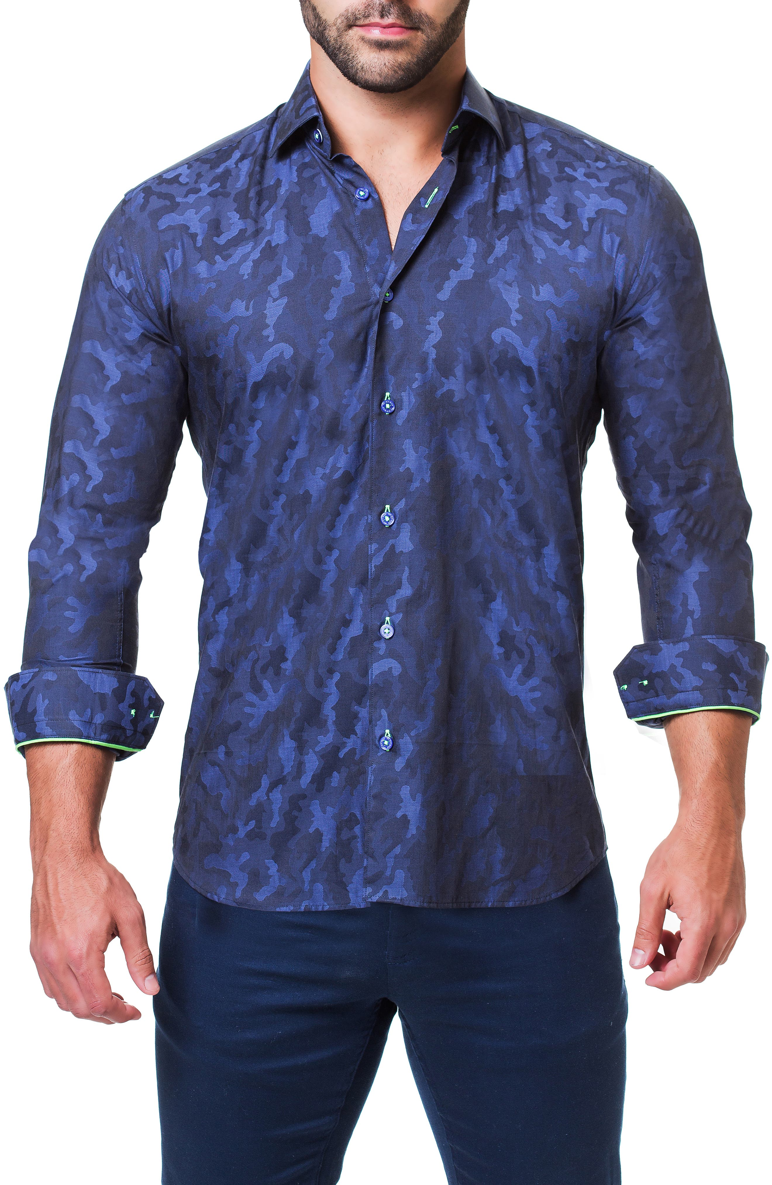 Einstein Camouflage Trim Fit Sport Shirt,                             Alternate thumbnail 4, color,                             BLUE