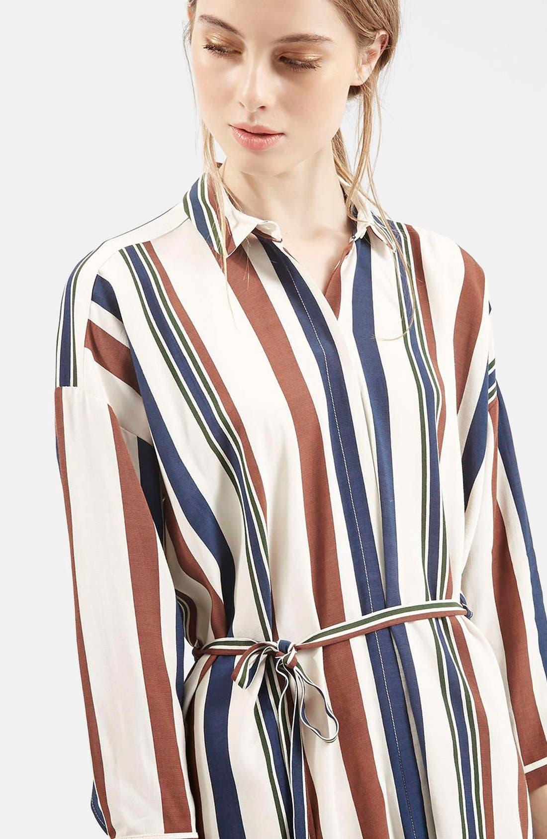 Stripe Belted Shirtdress,                             Alternate thumbnail 5, color,                             900