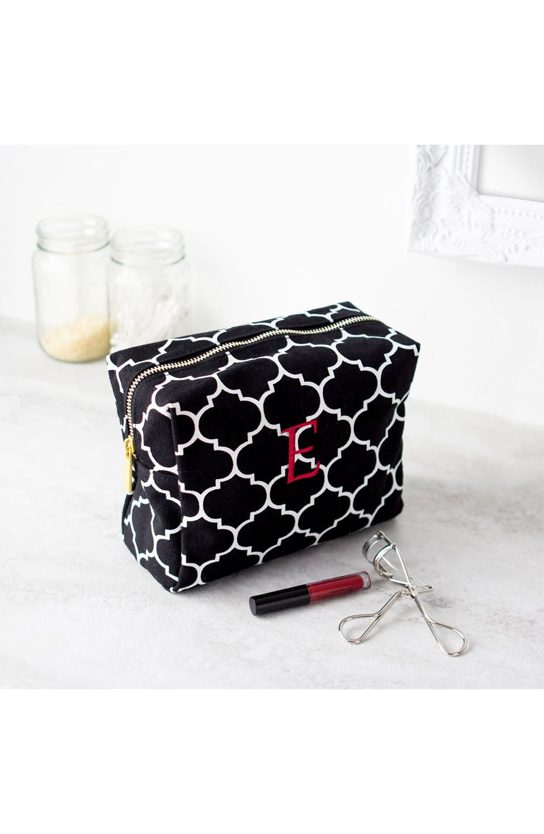 Monogram Cosmetics Bag,                             Alternate thumbnail 5, color,                             BLACK