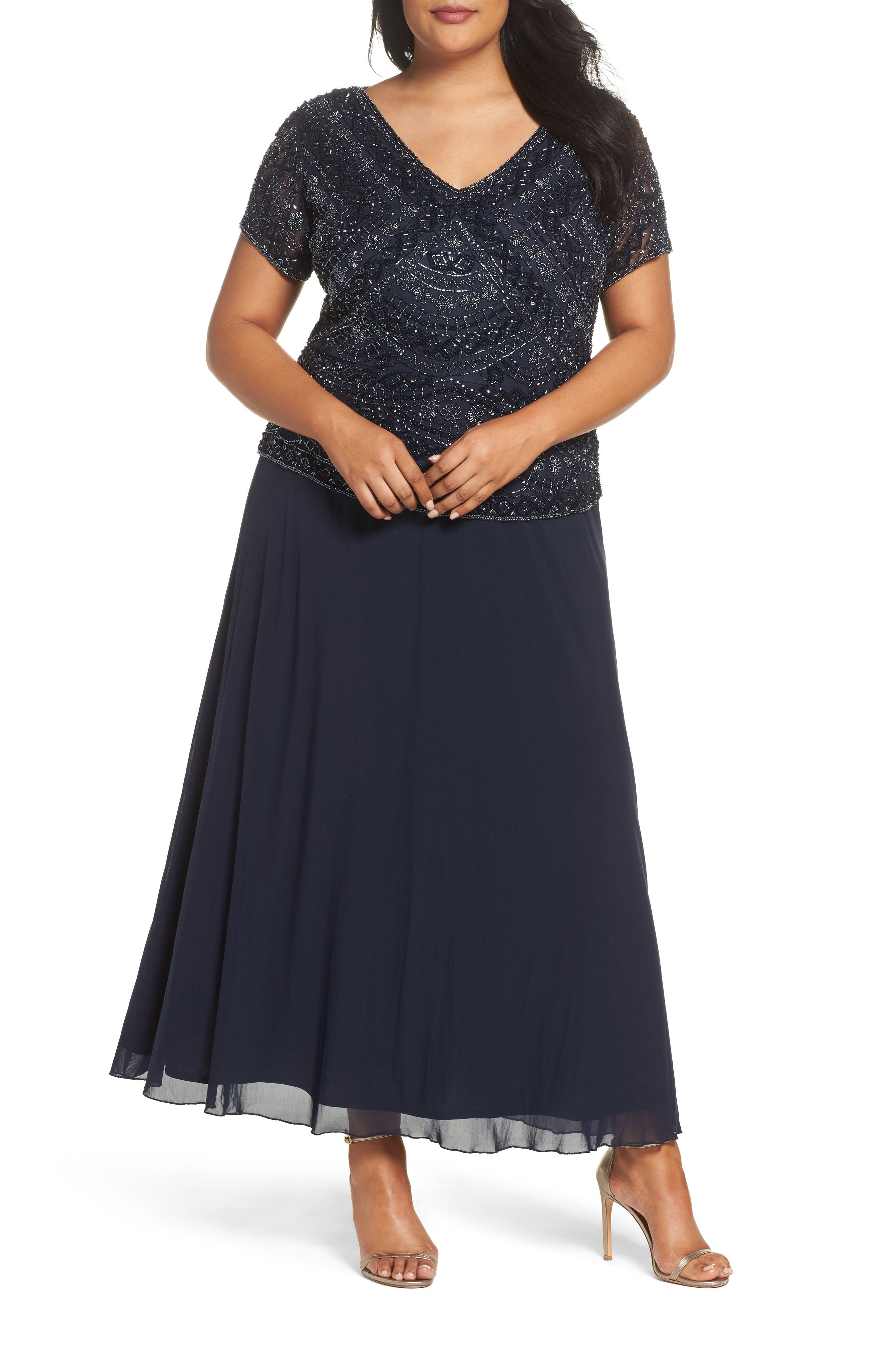 1940s Plus Size Dresses | Swing Dress, Tea Dress Plus Size Womens Pisarro Nights Beaded Mock Two-Piece Gown Size 24W - Blue $238.00 AT vintagedancer.com