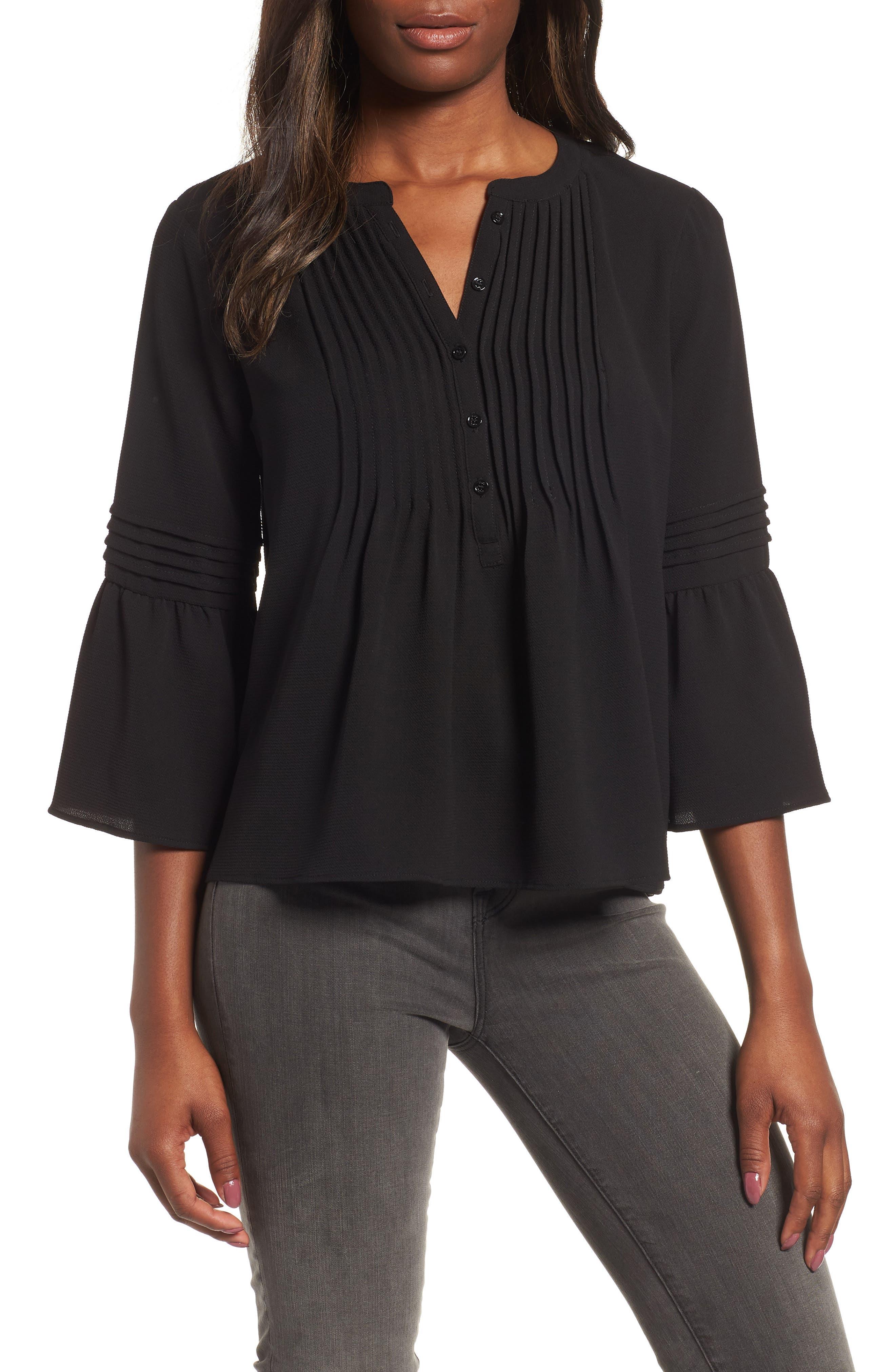 Ruffle Sleeve Pintuck Blouse, Main, color, RICH BLACK