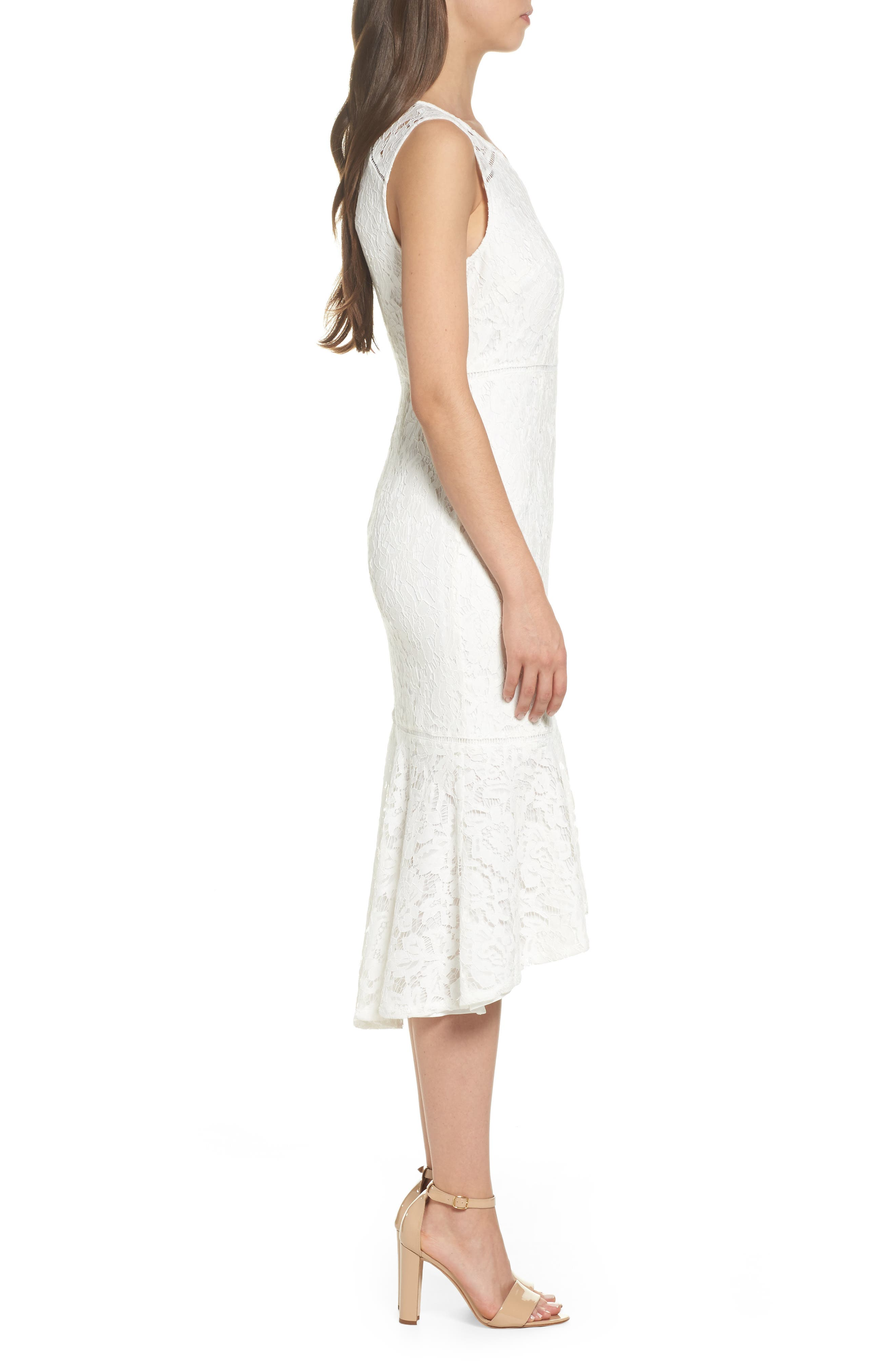 Cynthia Lace Flounce Hem Sheath Dress,                             Alternate thumbnail 3, color,                             900
