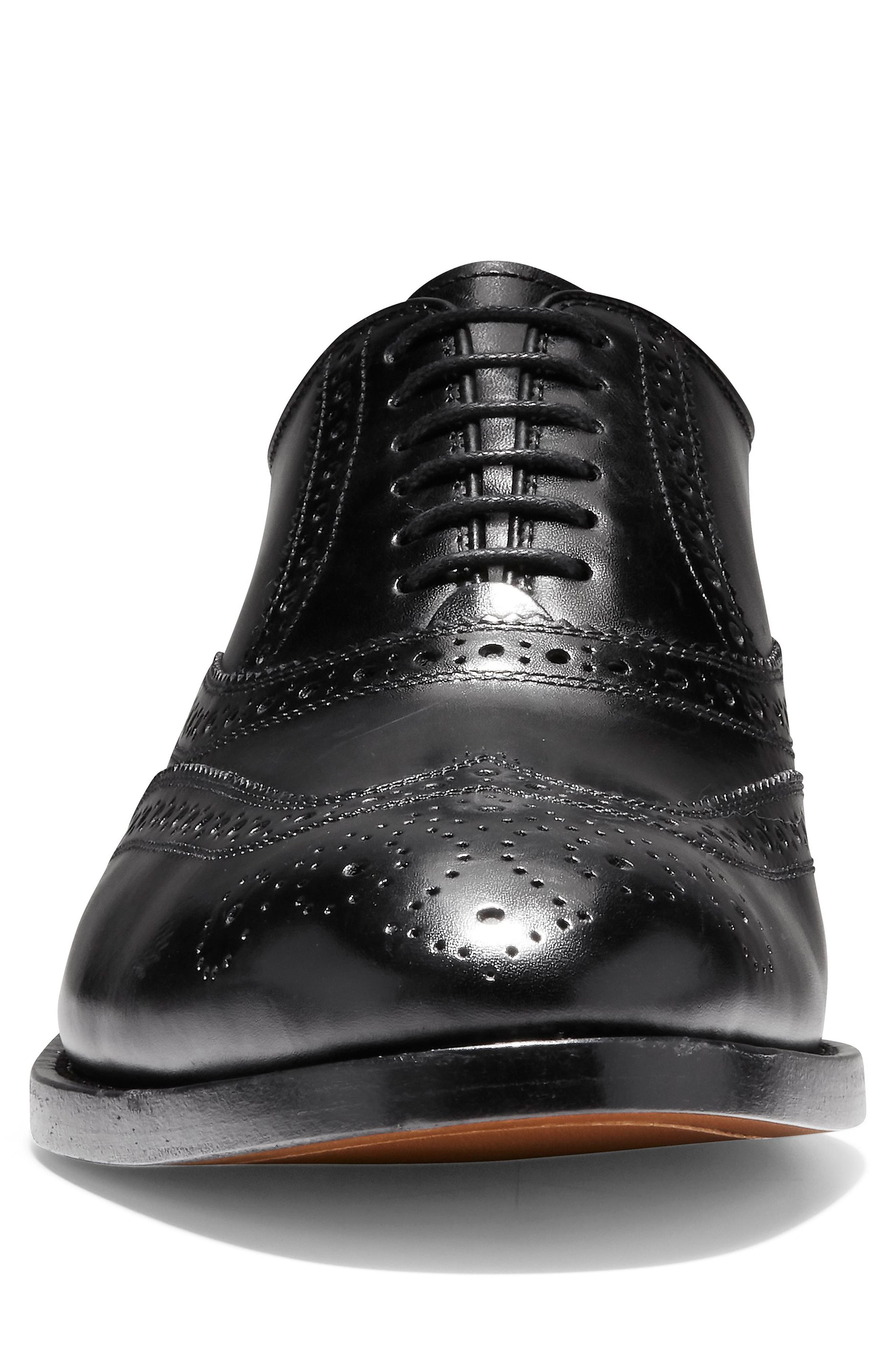 American Classics Kneeland Wingtip,                             Alternate thumbnail 4, color,                             BLACK LEATHER