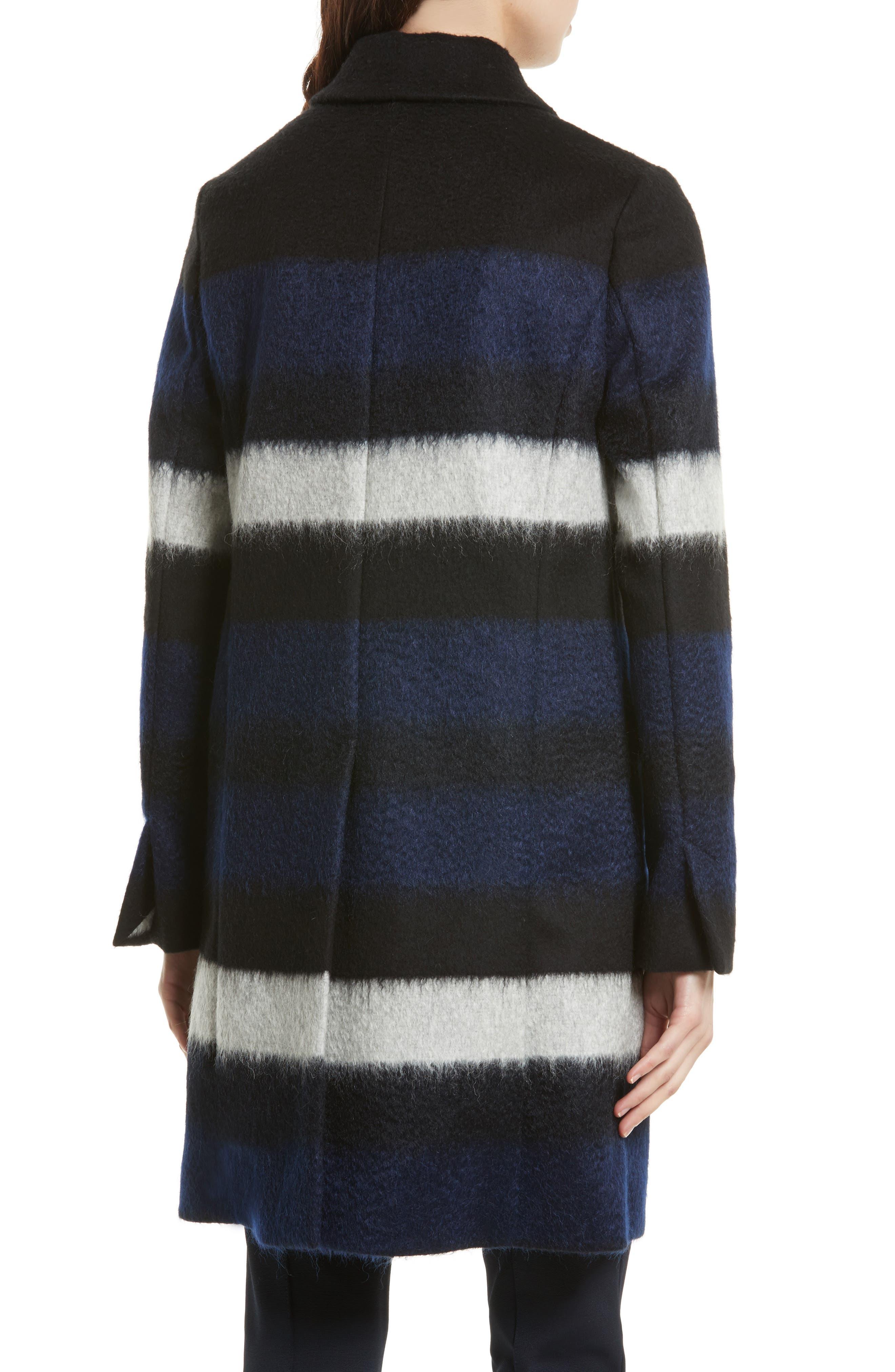DIANE VON FURSTENBERG,                             Stripe Wool Blend Coat,                             Alternate thumbnail 2, color,                             005