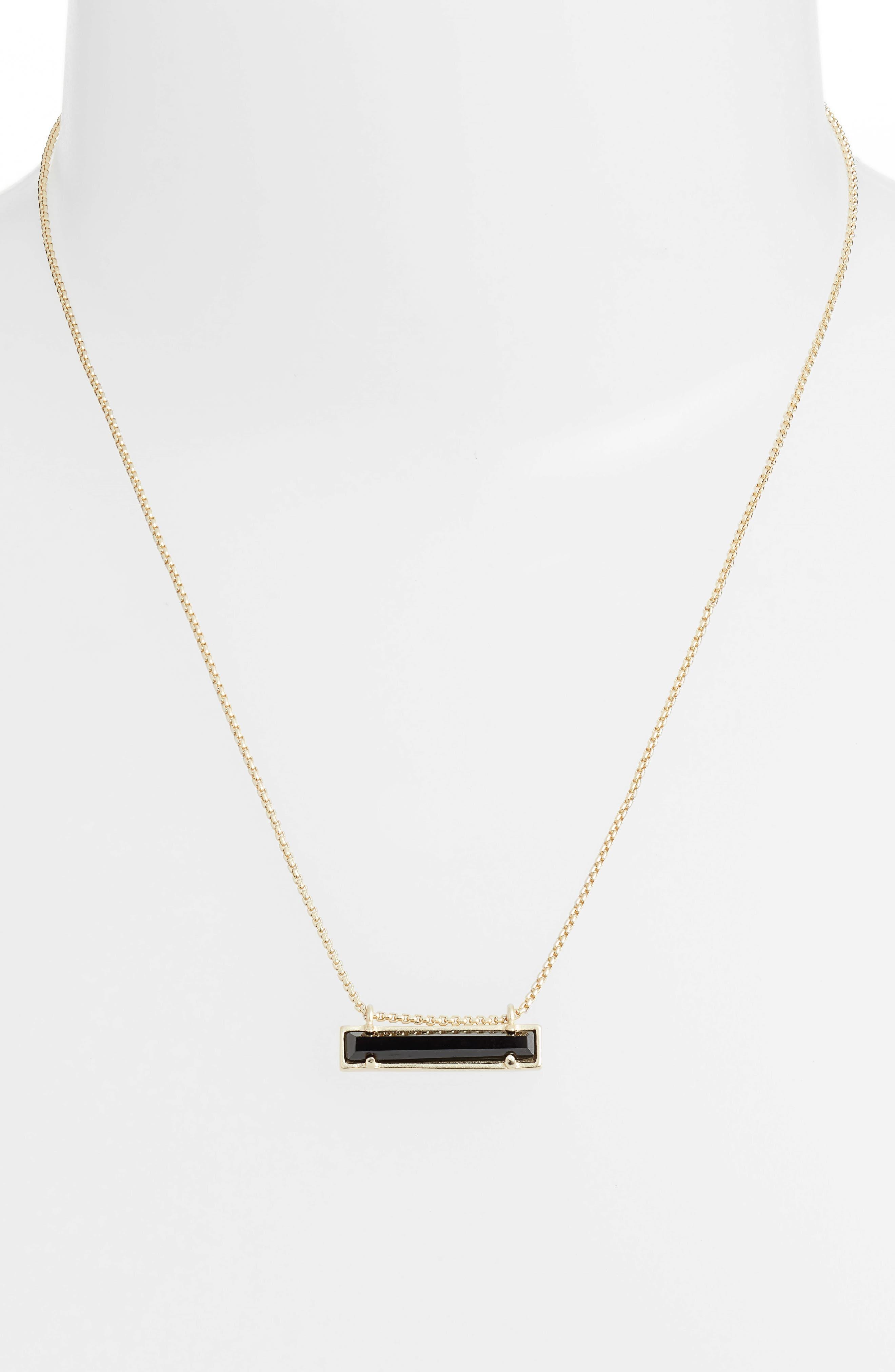 Leanor Pendant Necklace,                             Alternate thumbnail 2, color,                             BLACK GLASS/ GOLD