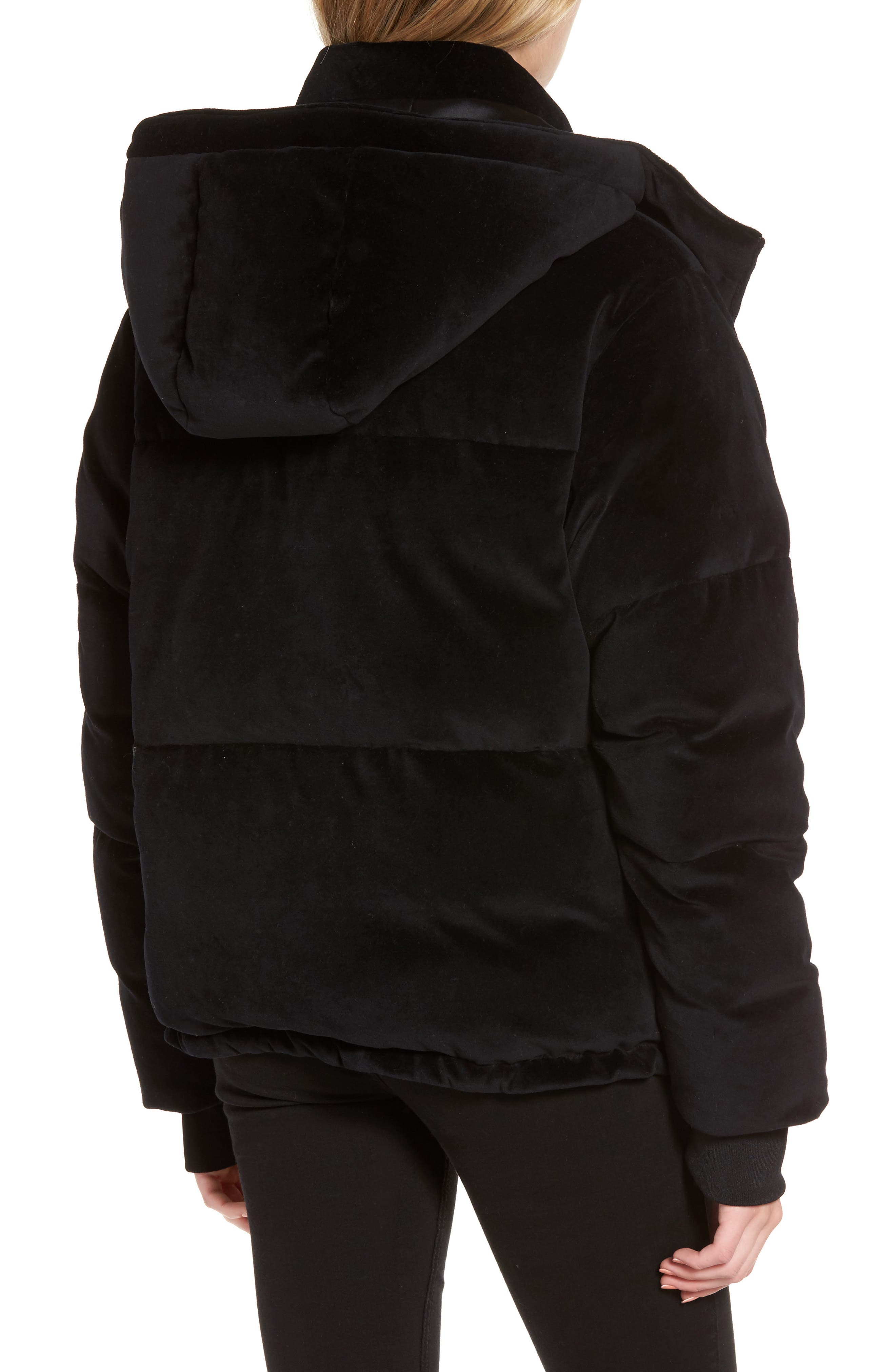 Velour Puffer Jacket,                             Alternate thumbnail 2, color,                             001