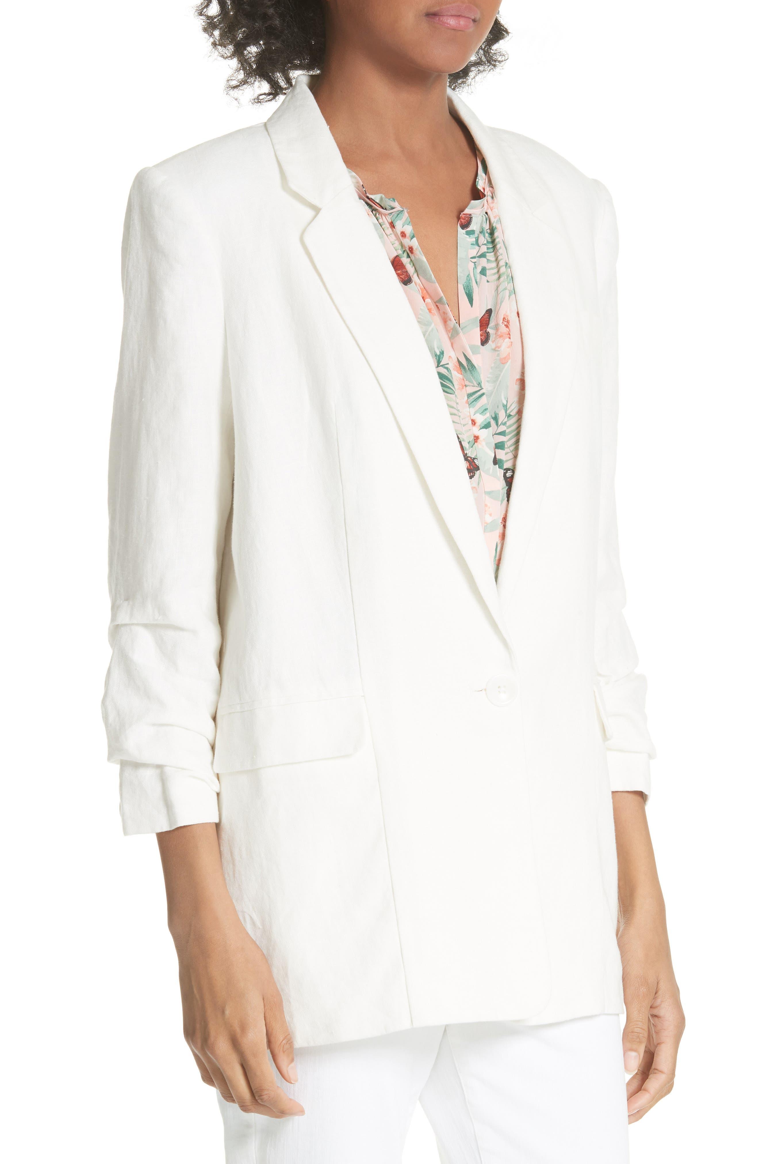 Kishina Ruched Sleeve Linen Blazer,                             Alternate thumbnail 4, color,                             903