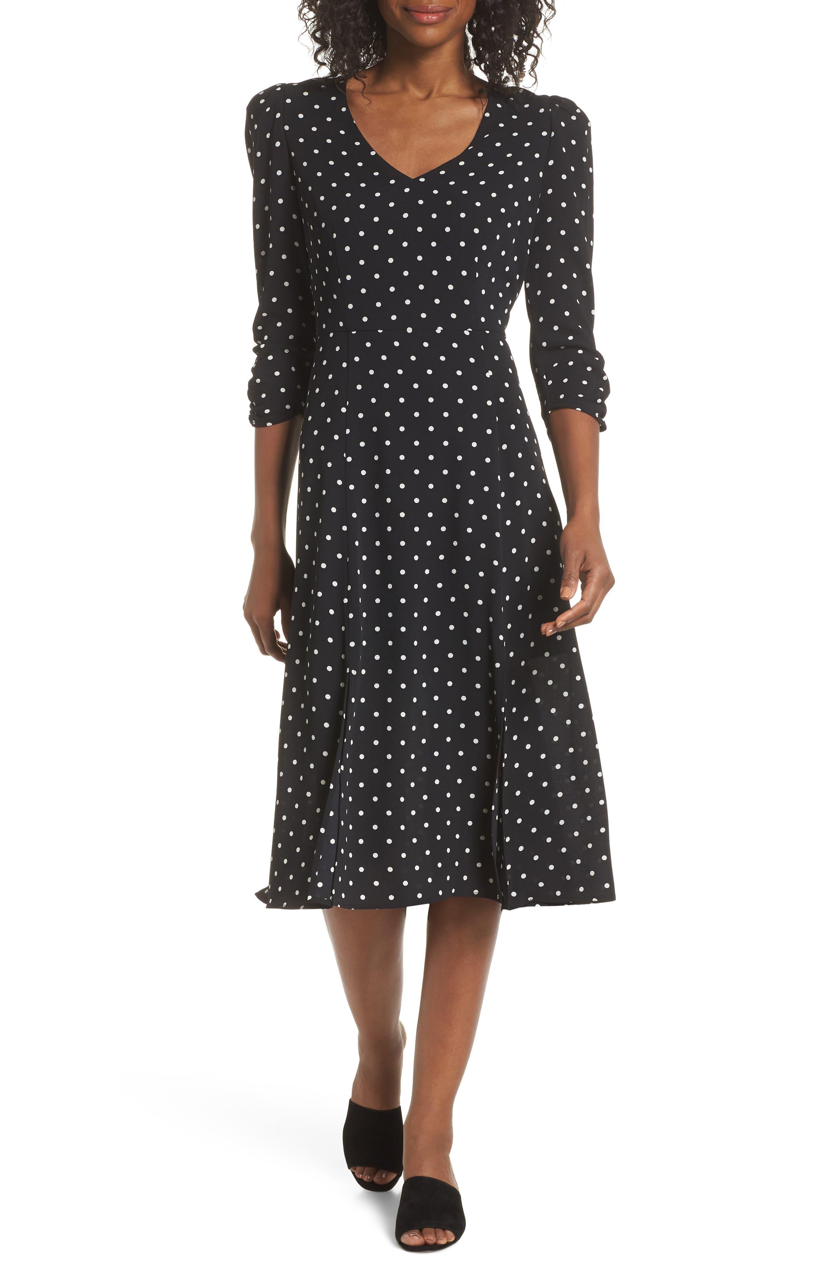 Eliza J Polka Dot Midi Dress, Black
