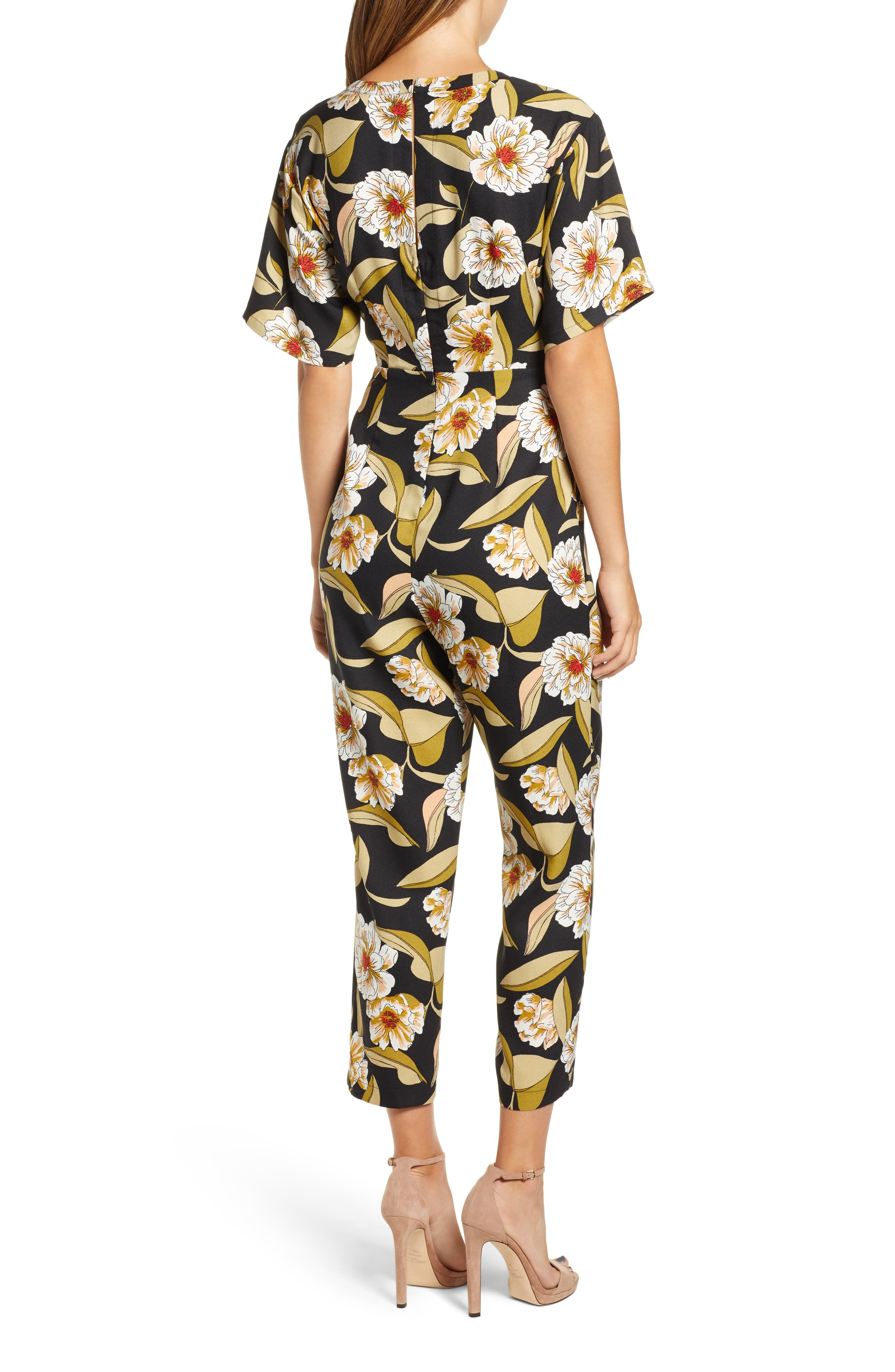LEITH,                             Belted Floral Jumpsuit,                             Alternate thumbnail 2, color,                             001