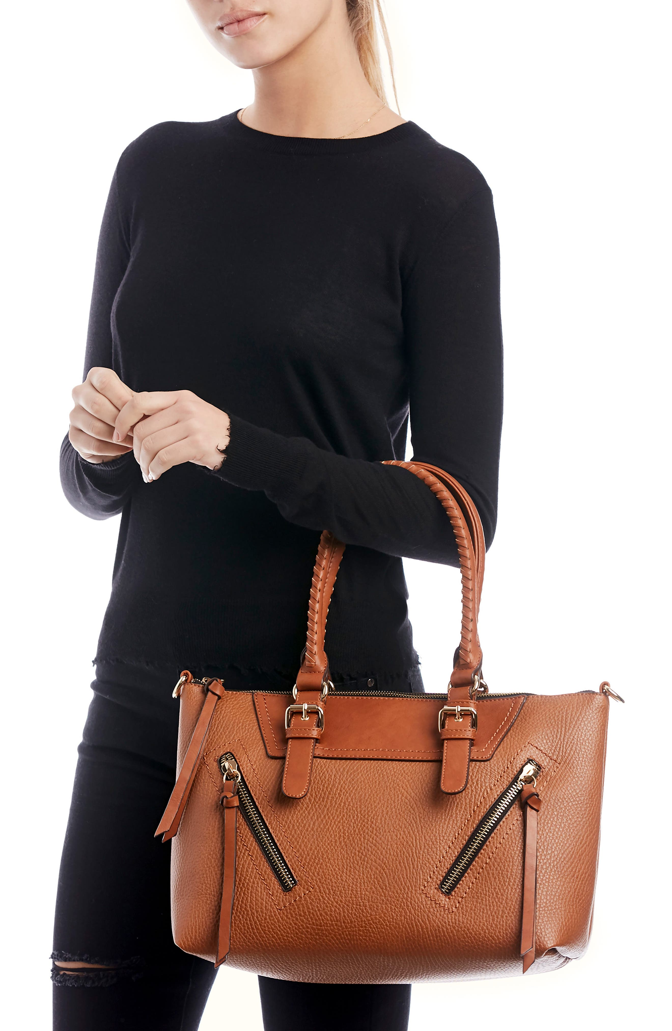 Girard Faux Leather Satchel,                             Alternate thumbnail 5, color,