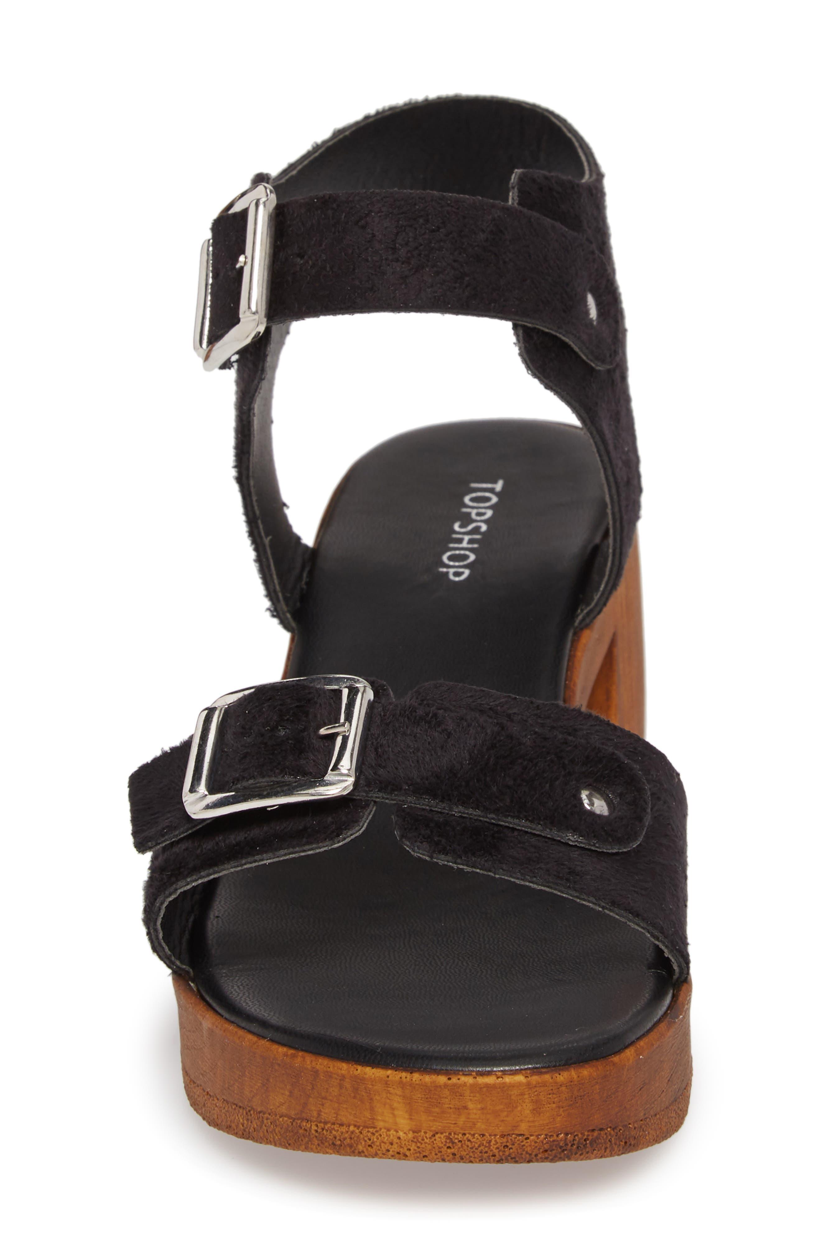 Buckle Platform Sandal,                             Alternate thumbnail 4, color,                             BLACK MULTI