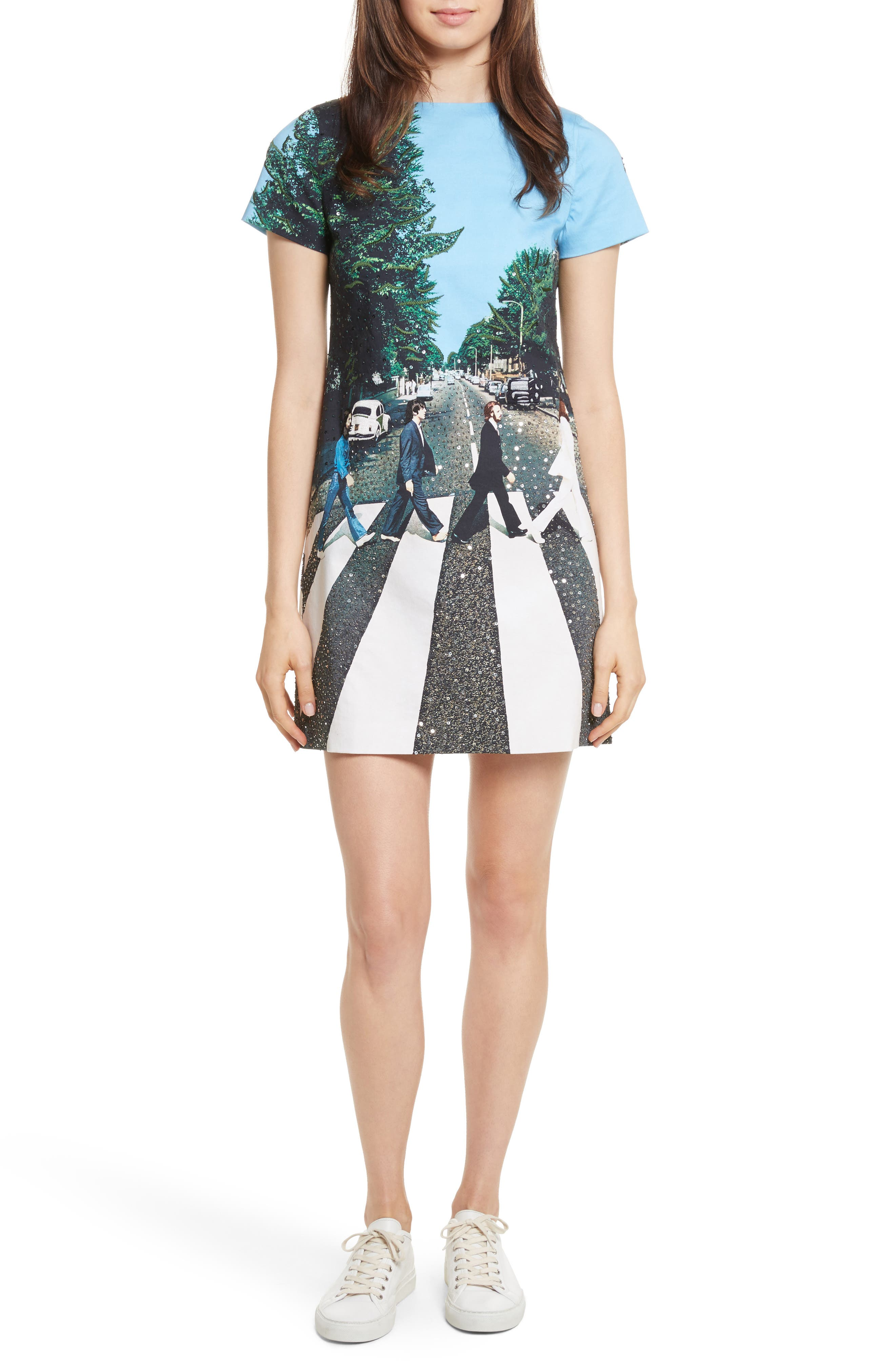 ALICE + OLIVIA AO x The Beatles Sequined Shift Dress, Main, color, 473