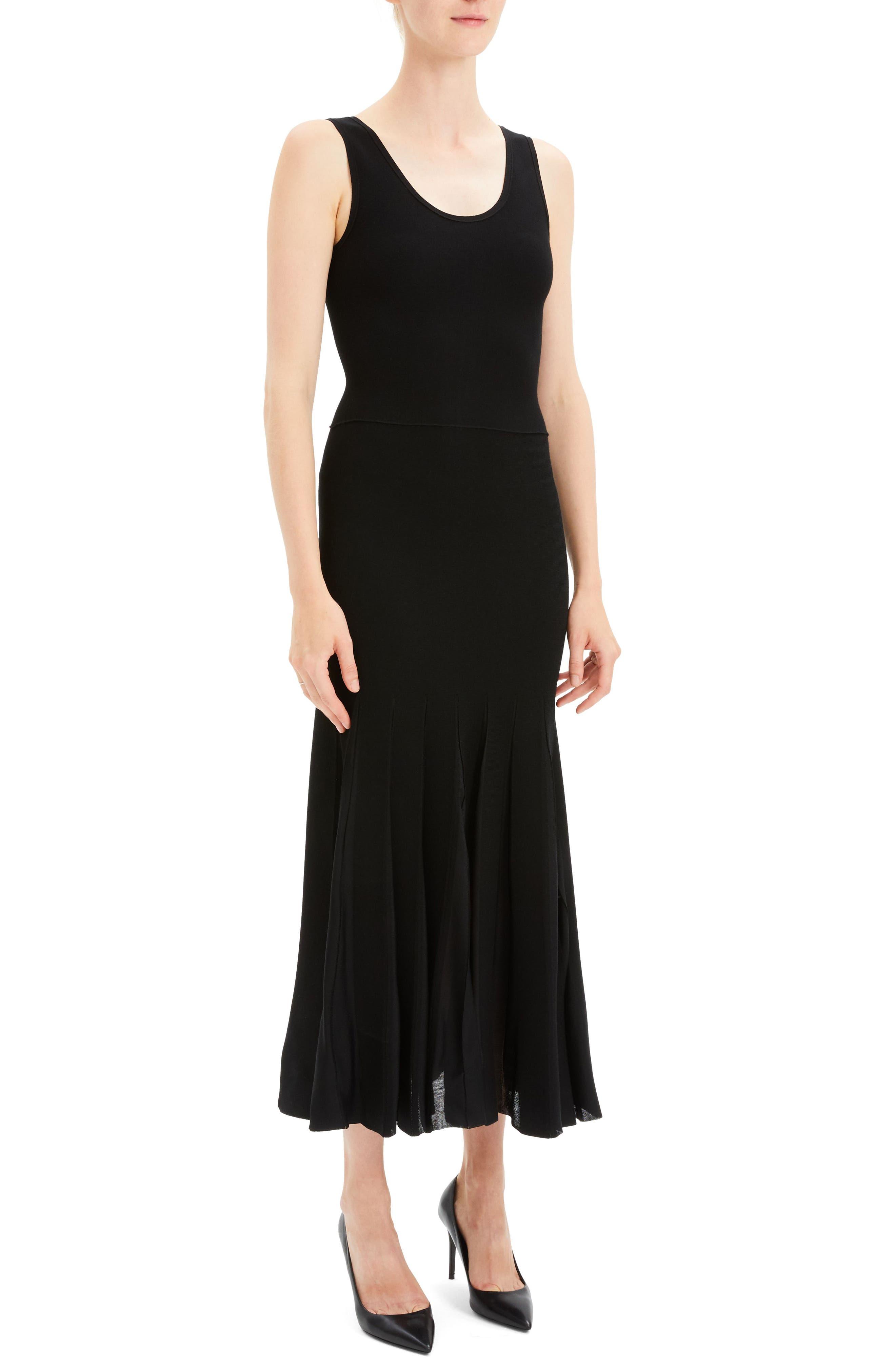 Pleated Tank Dress,                             Alternate thumbnail 3, color,                             BLACK/ BLACK