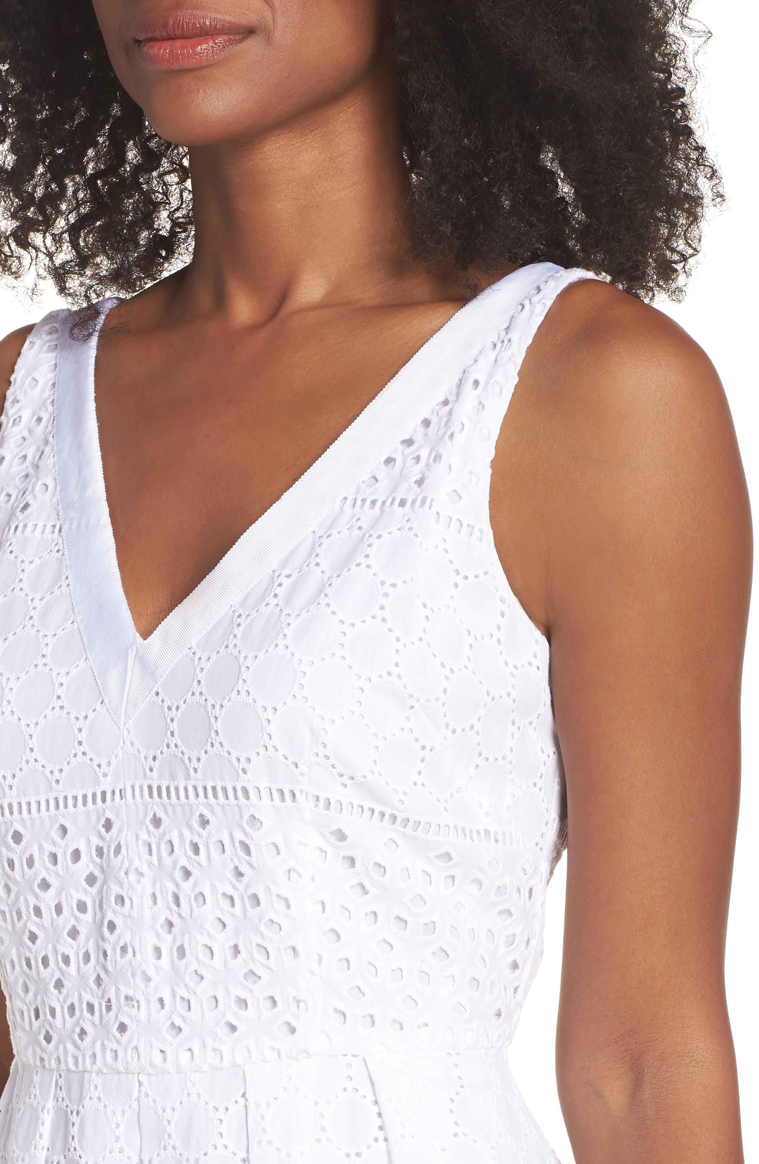 V-Neck Cotton Eyelet Fit & Flare Dress,                             Alternate thumbnail 9, color,