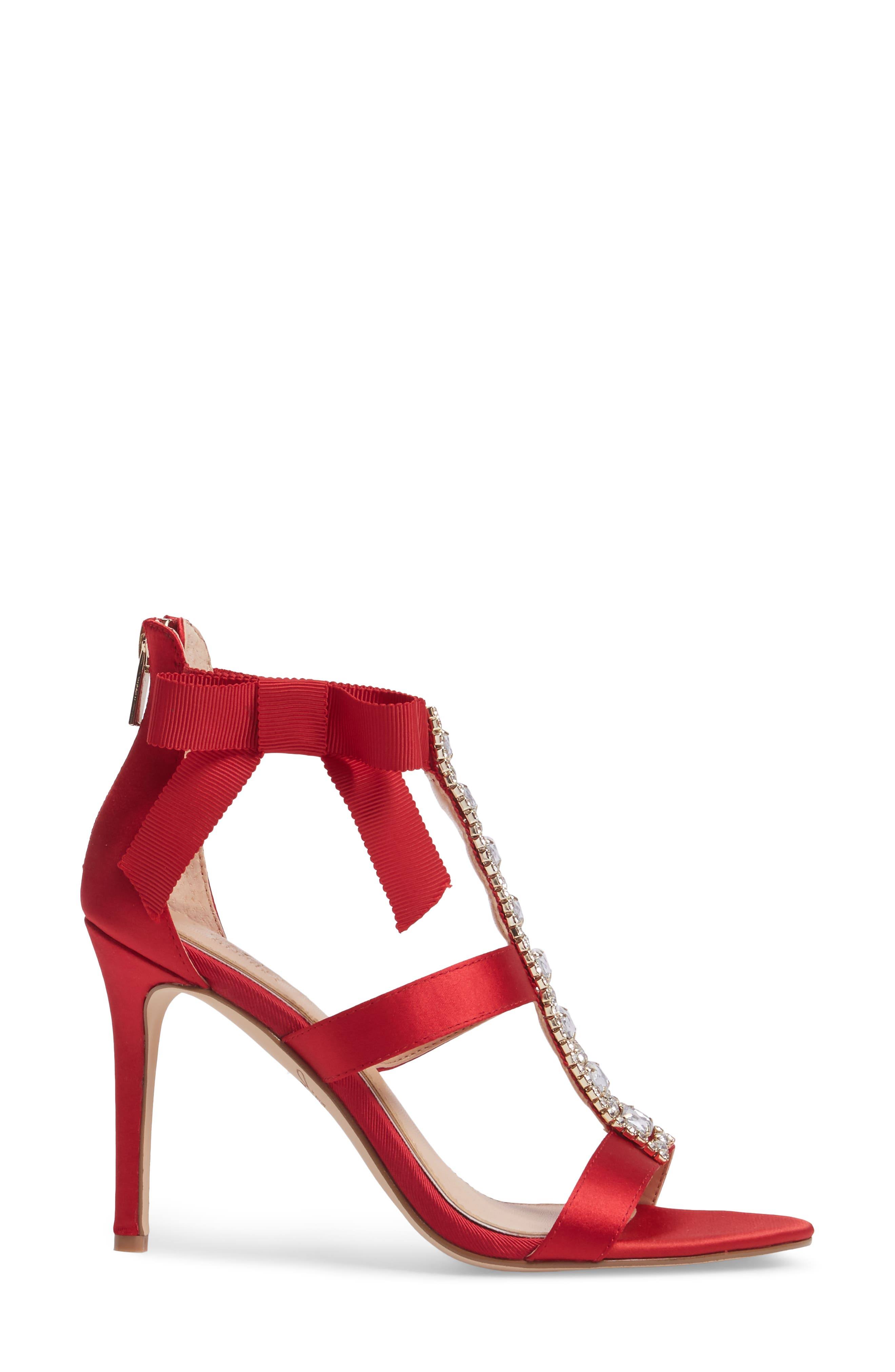 Henderson Embellished Bow Sandal,                             Alternate thumbnail 3, color,                             RED SATIN