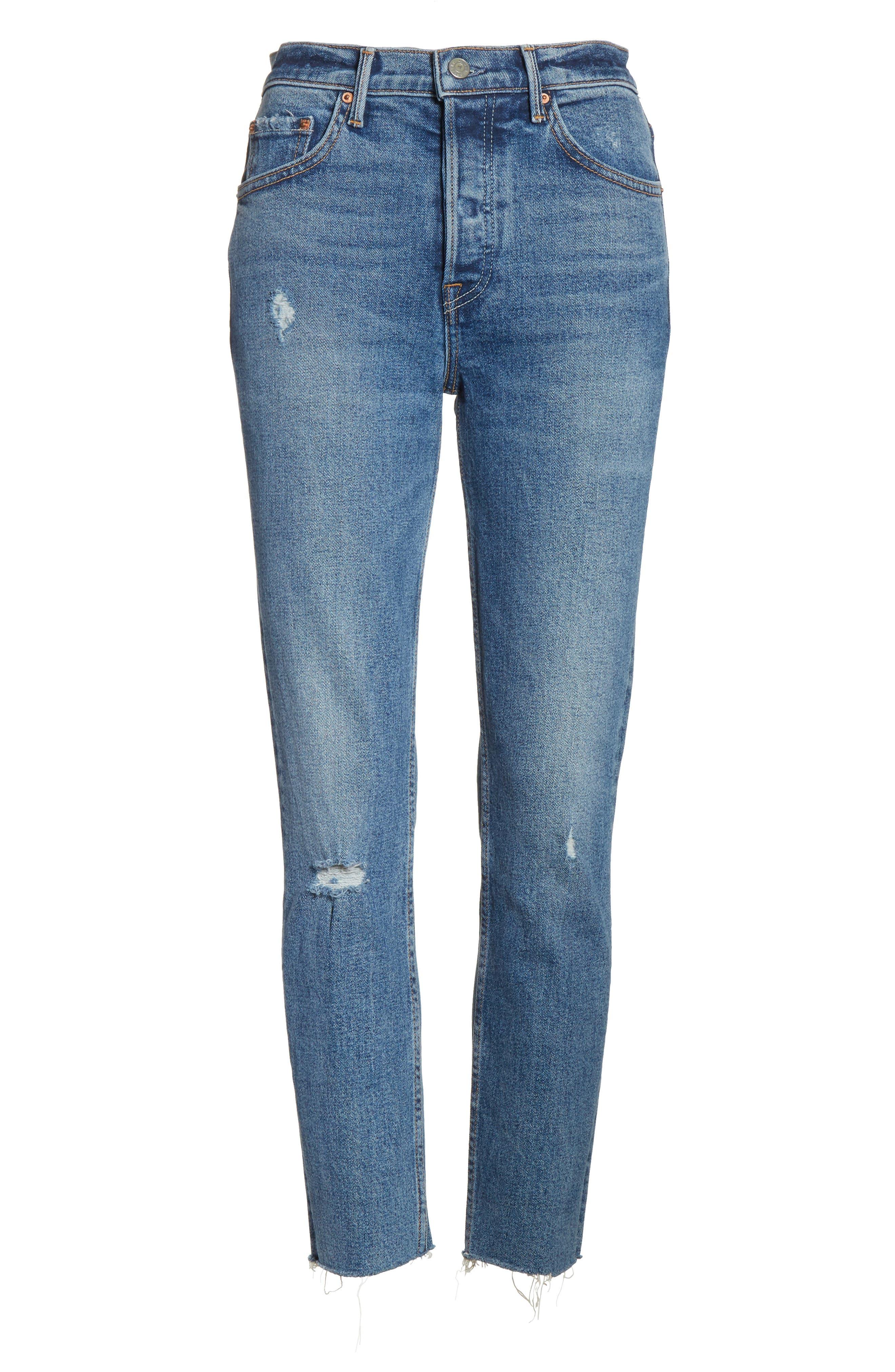 Karolina High Waist Skinny Jeans,                             Alternate thumbnail 6, color,                             SIXPENCE