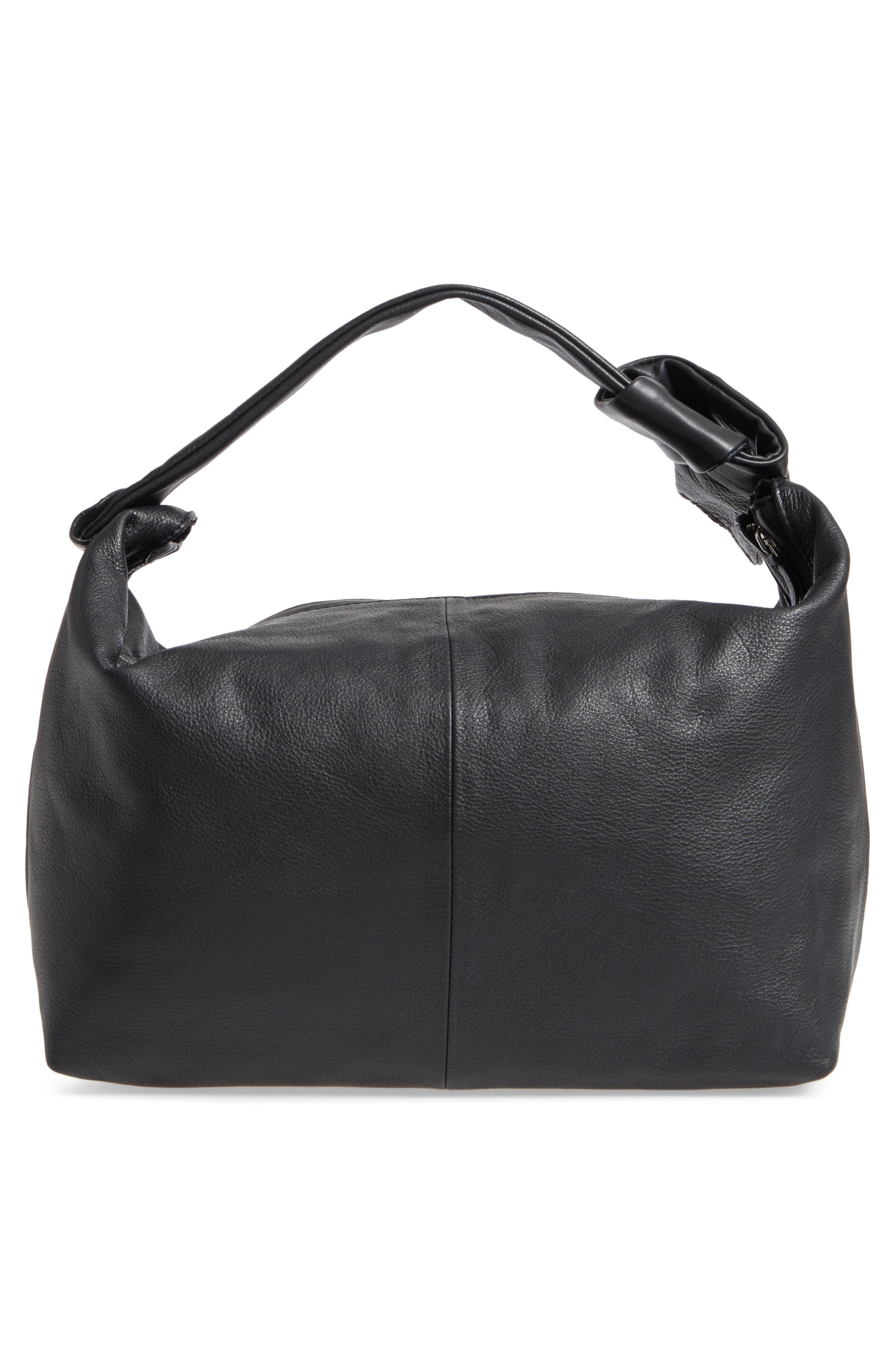 Premium Leather Jasmine Hobo Bag,                             Alternate thumbnail 3, color,                             001