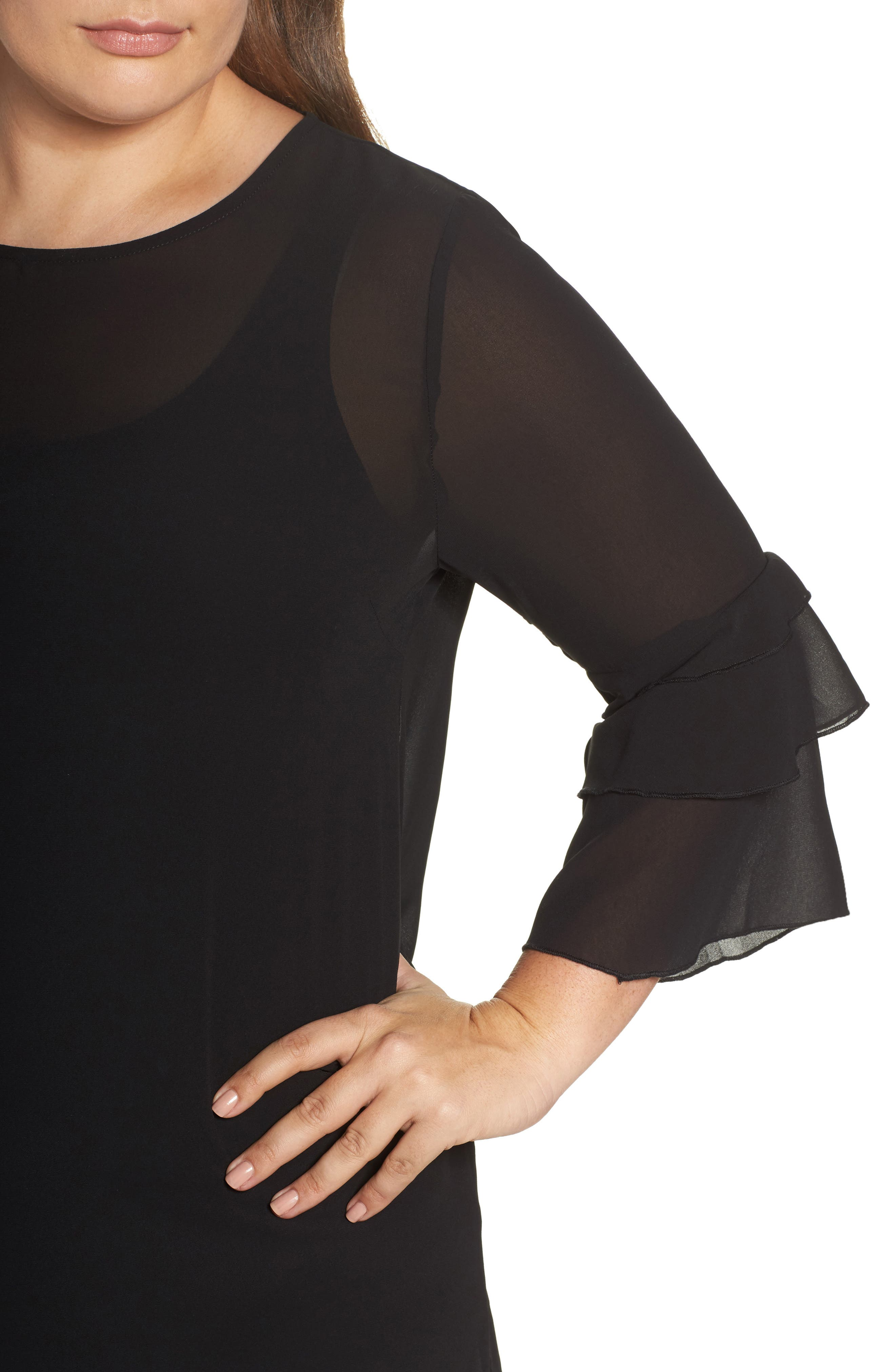 Ruffle Sleeve Blouse,                             Alternate thumbnail 7, color,