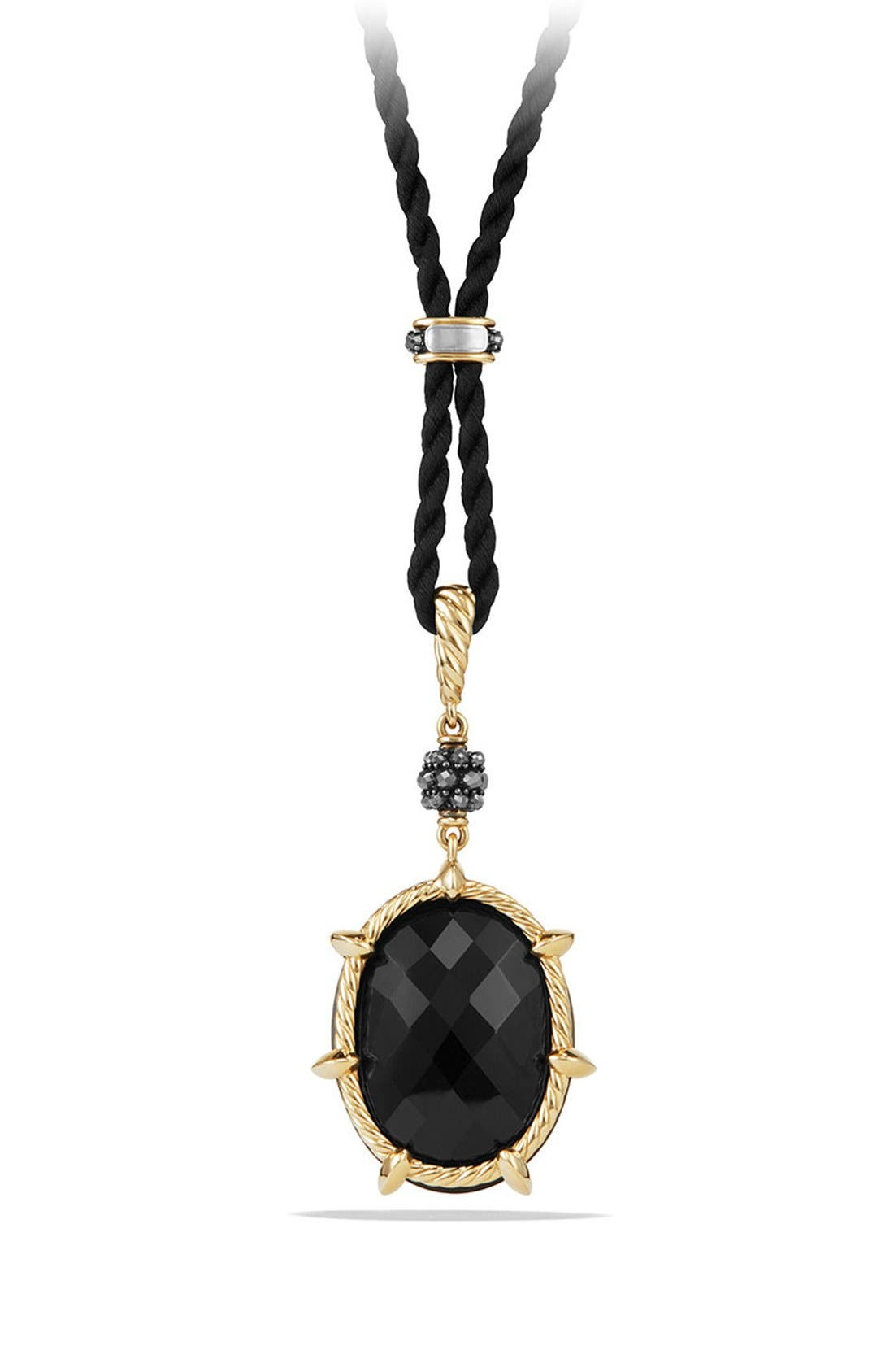 Cable Berries Long Station Pendant Necklace with 18K Gold,                             Alternate thumbnail 3, color,                             BLACK ONYX