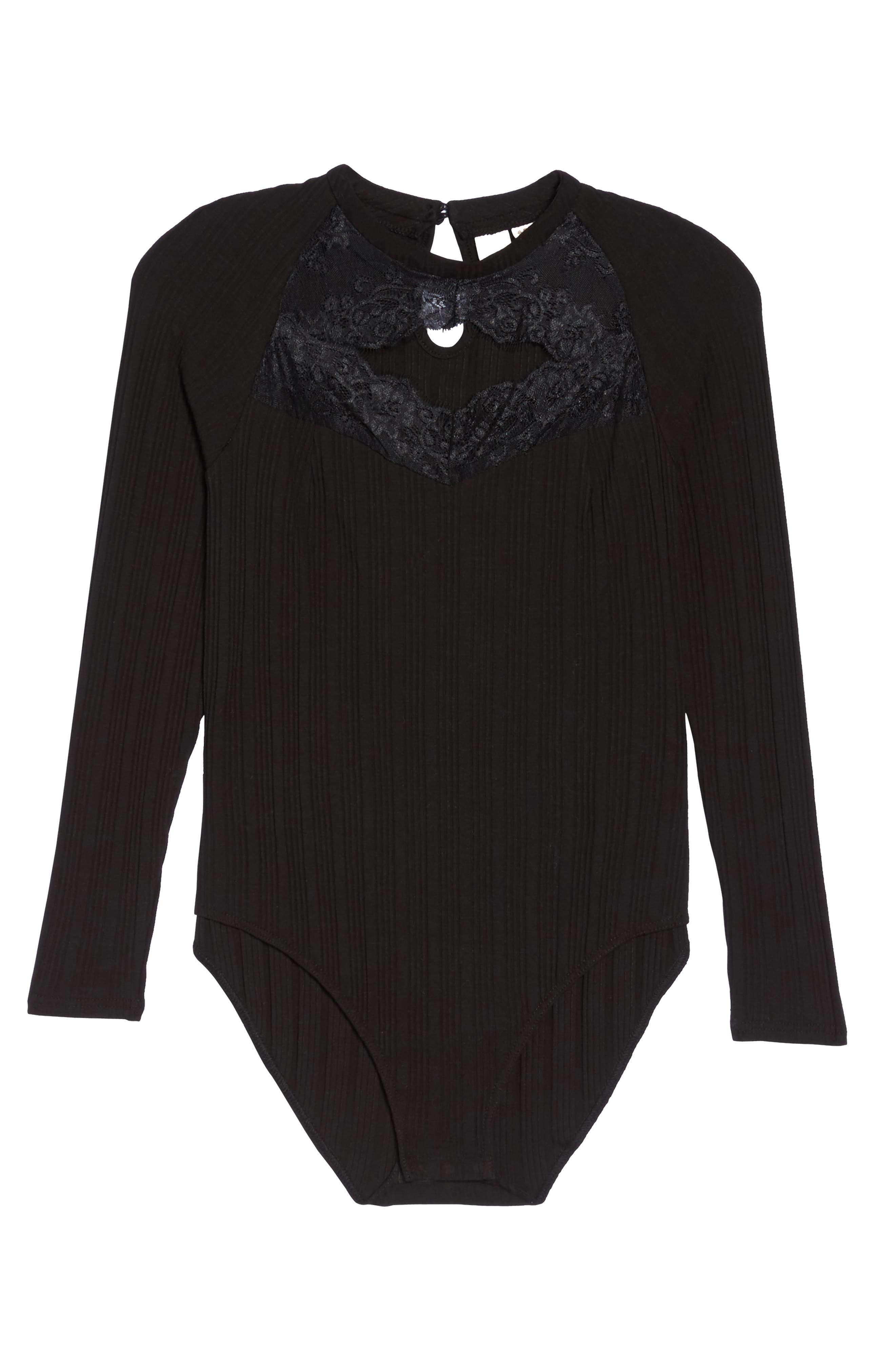 Ribbed Lace Trim Bodysuit,                             Alternate thumbnail 6, color,                             001