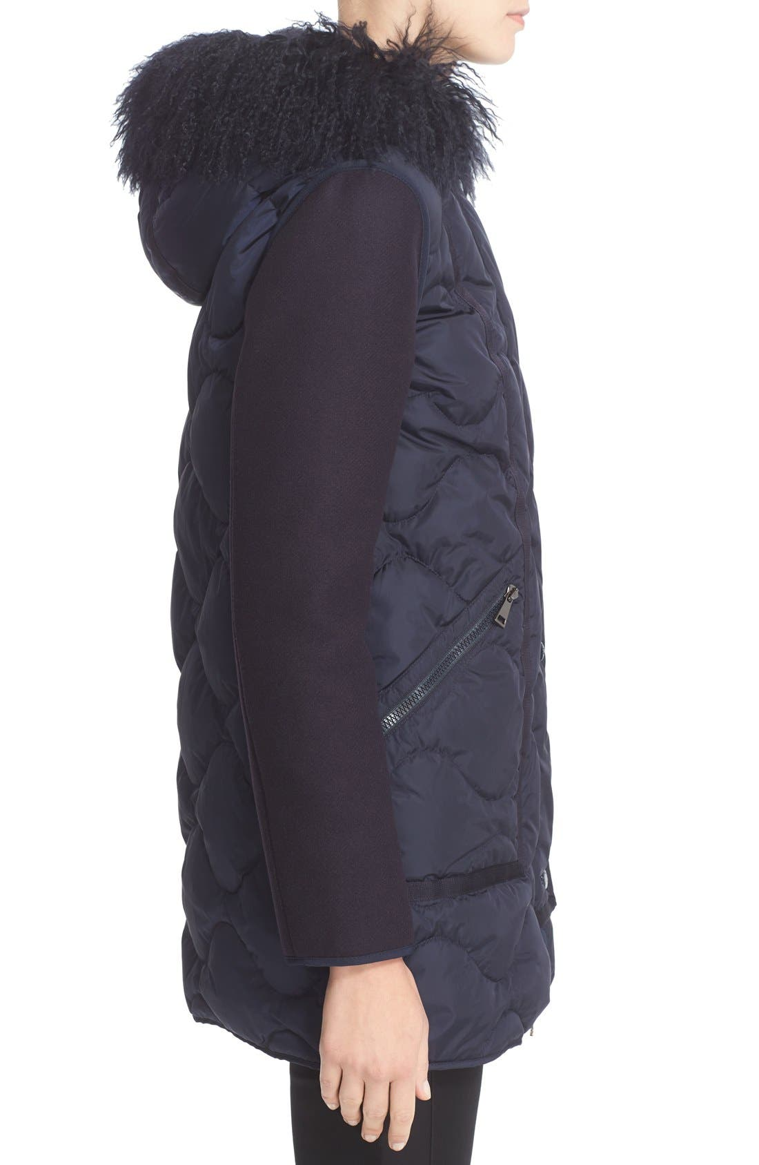 Theodora Water Resistant Hooded Jacket with Genuine Mongolian Fur Trim,                             Alternate thumbnail 5, color,                             419