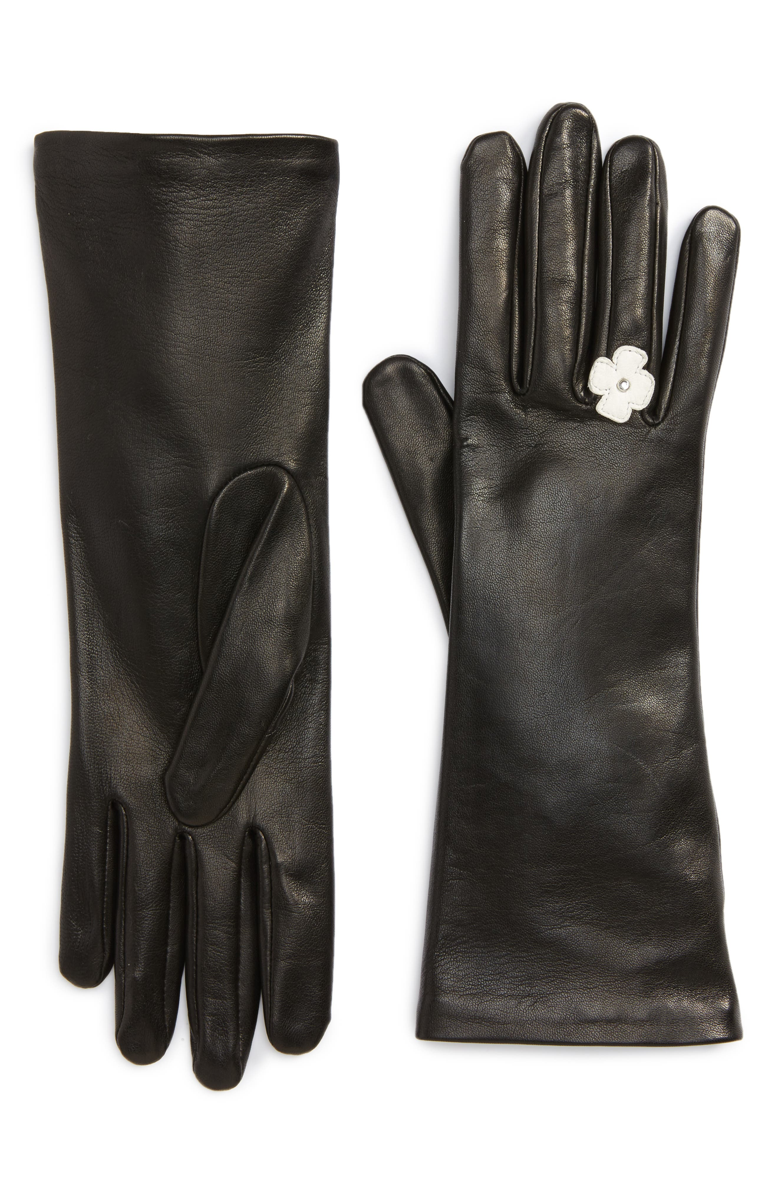Lambskin Leather Gloves,                         Main,                         color, 001