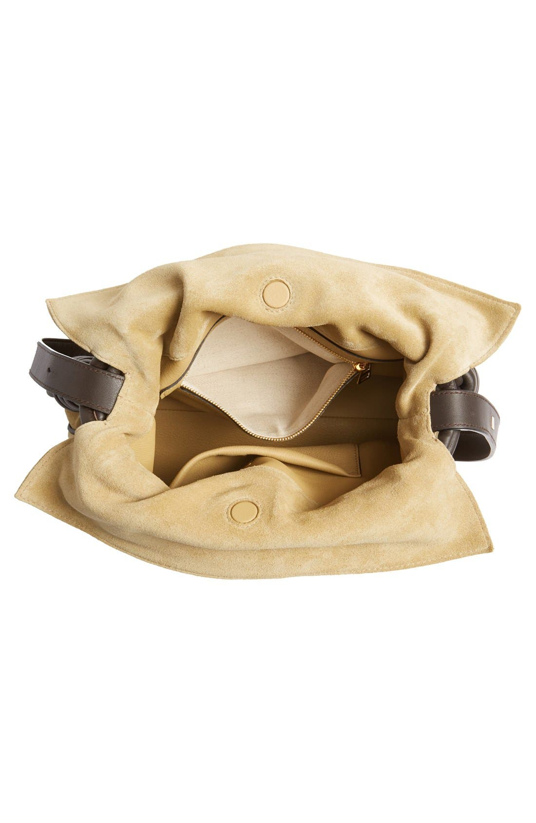 'Flamenco Knot' Suede & Calfskin Leather Bag,                             Alternate thumbnail 2, color,                             250