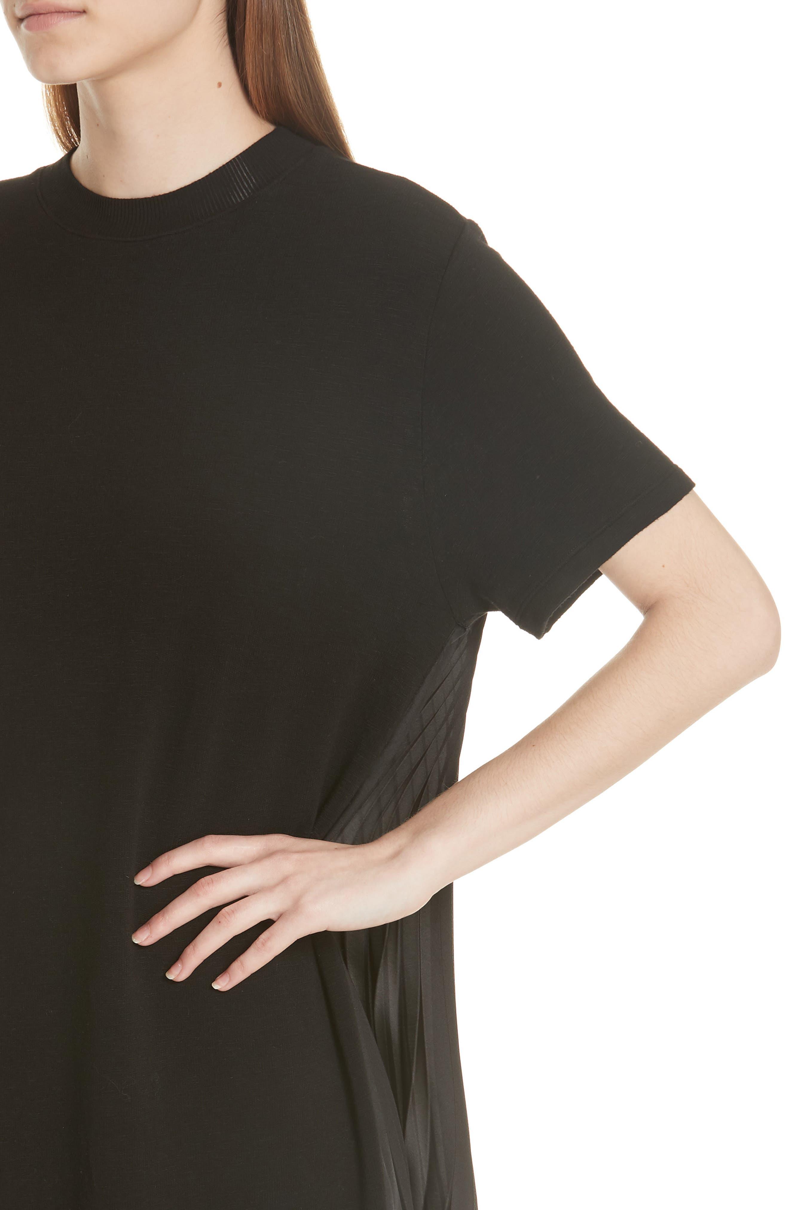 Pleat Back Midi Dress,                             Alternate thumbnail 4, color,                             001