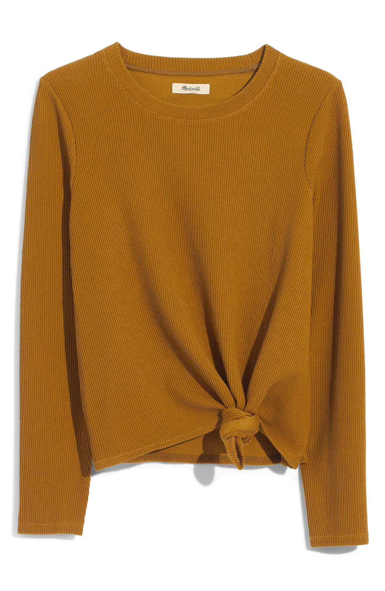 MADEWELL,                             Texture & Thread Front Knot Jacquard Top,                             Alternate thumbnail 5, color,                             EGYPTIAN GOLD