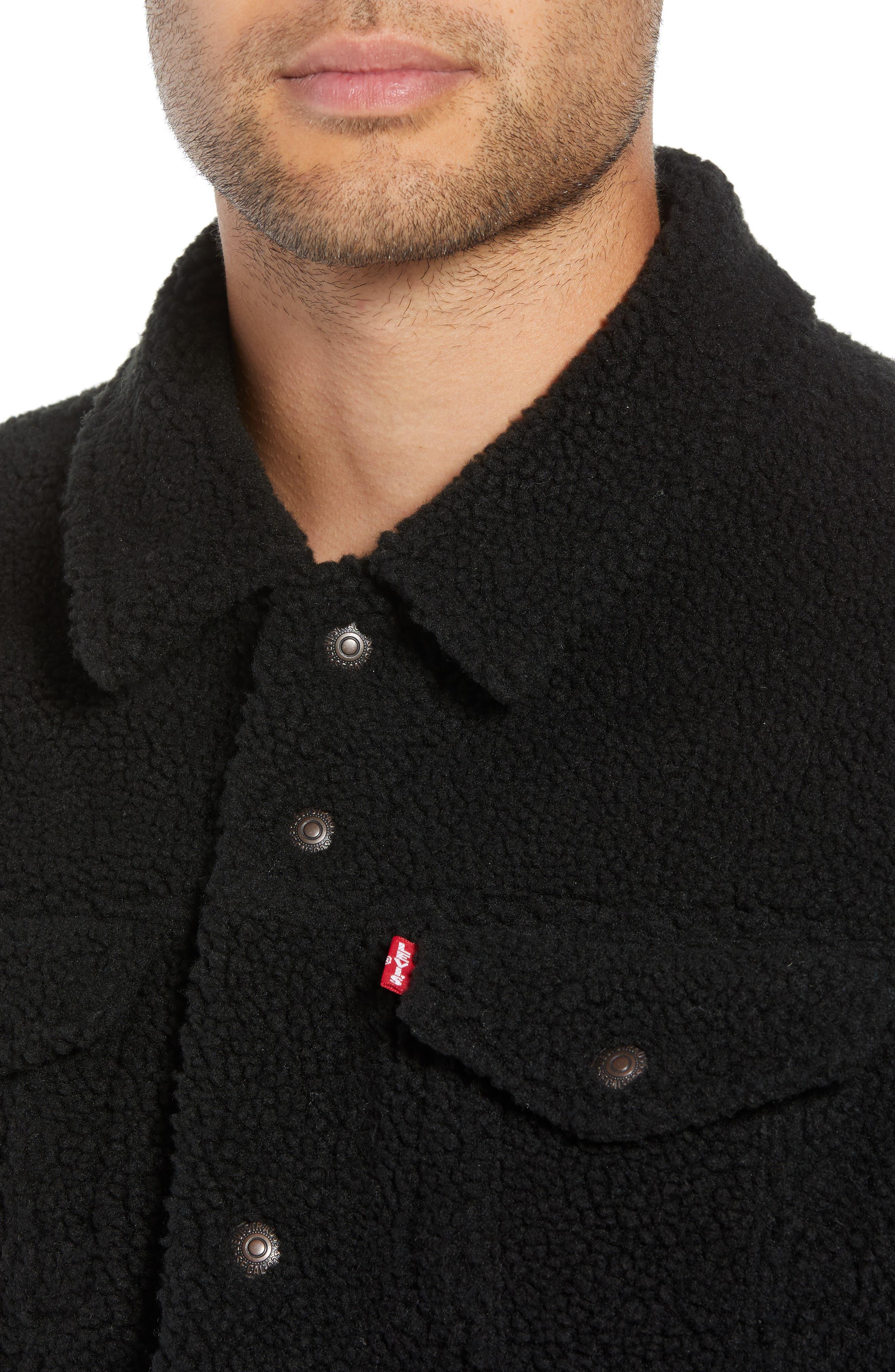 Fleece Trucker Jacket,                             Alternate thumbnail 4, color,                             BLACK