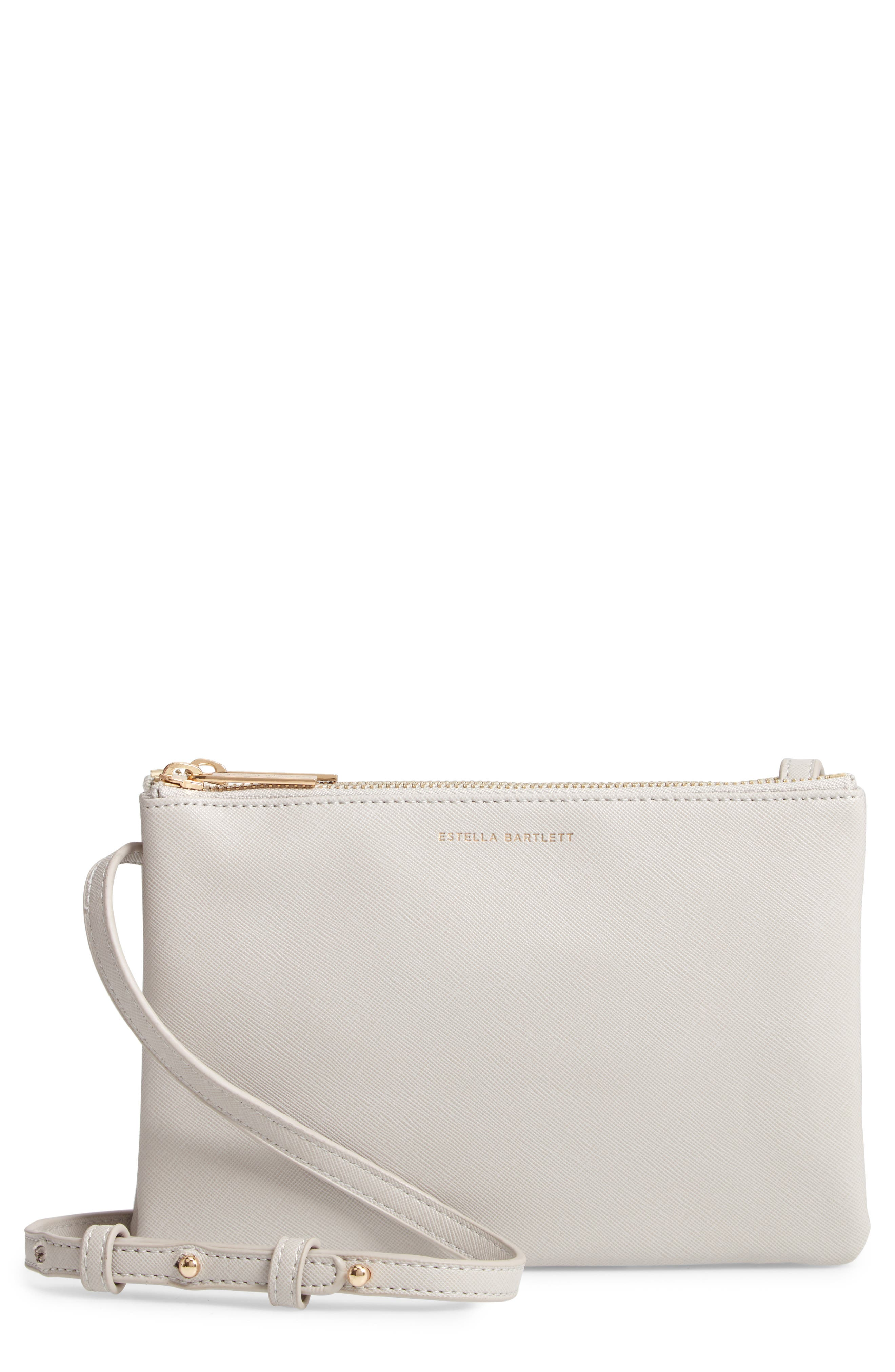 Double Faux Leather Crossbody Bag,                             Main thumbnail 1, color,                             GREY