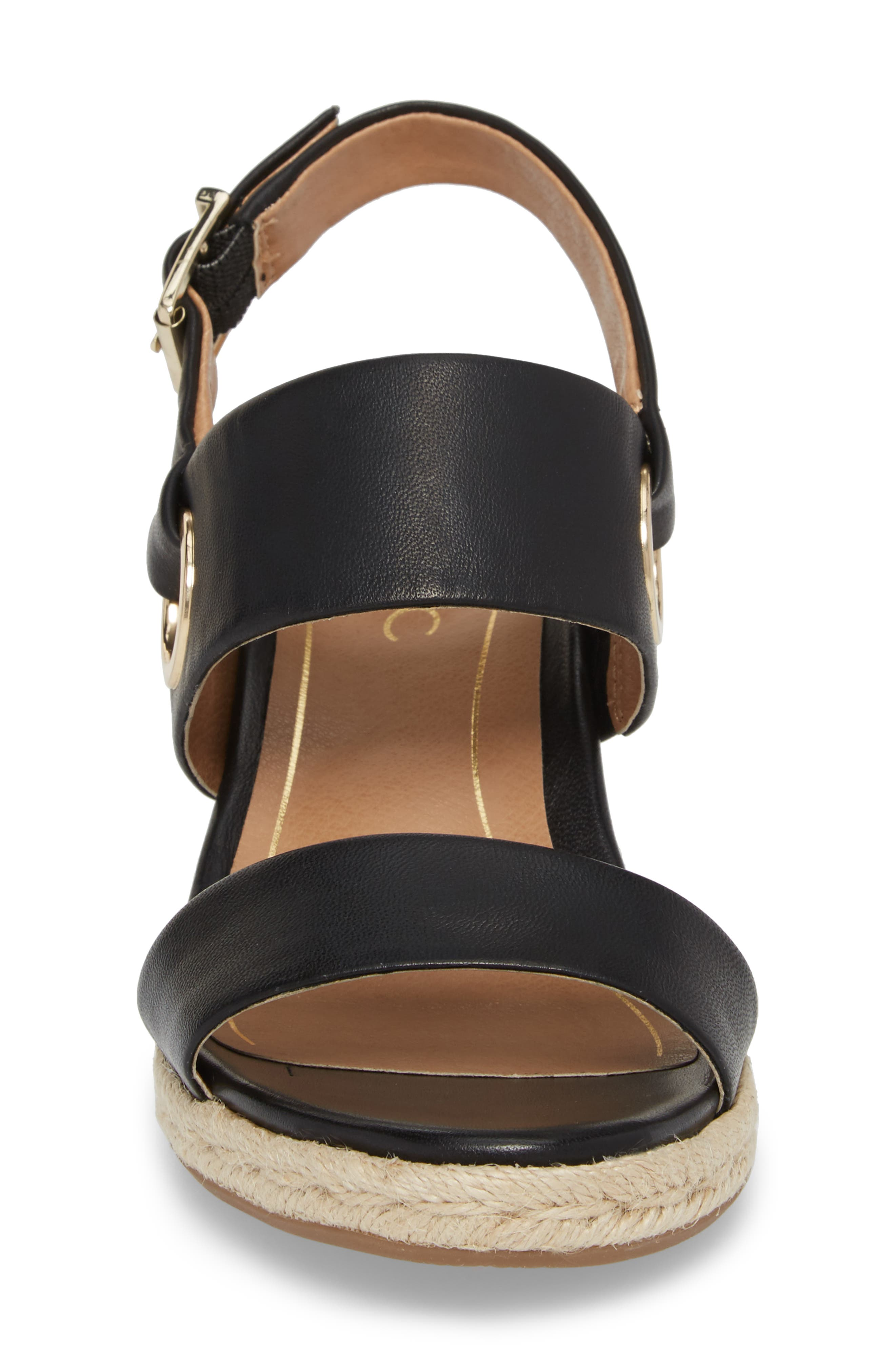 Vero Espadrille Wedge,                             Alternate thumbnail 4, color,                             BLACK LEATHER