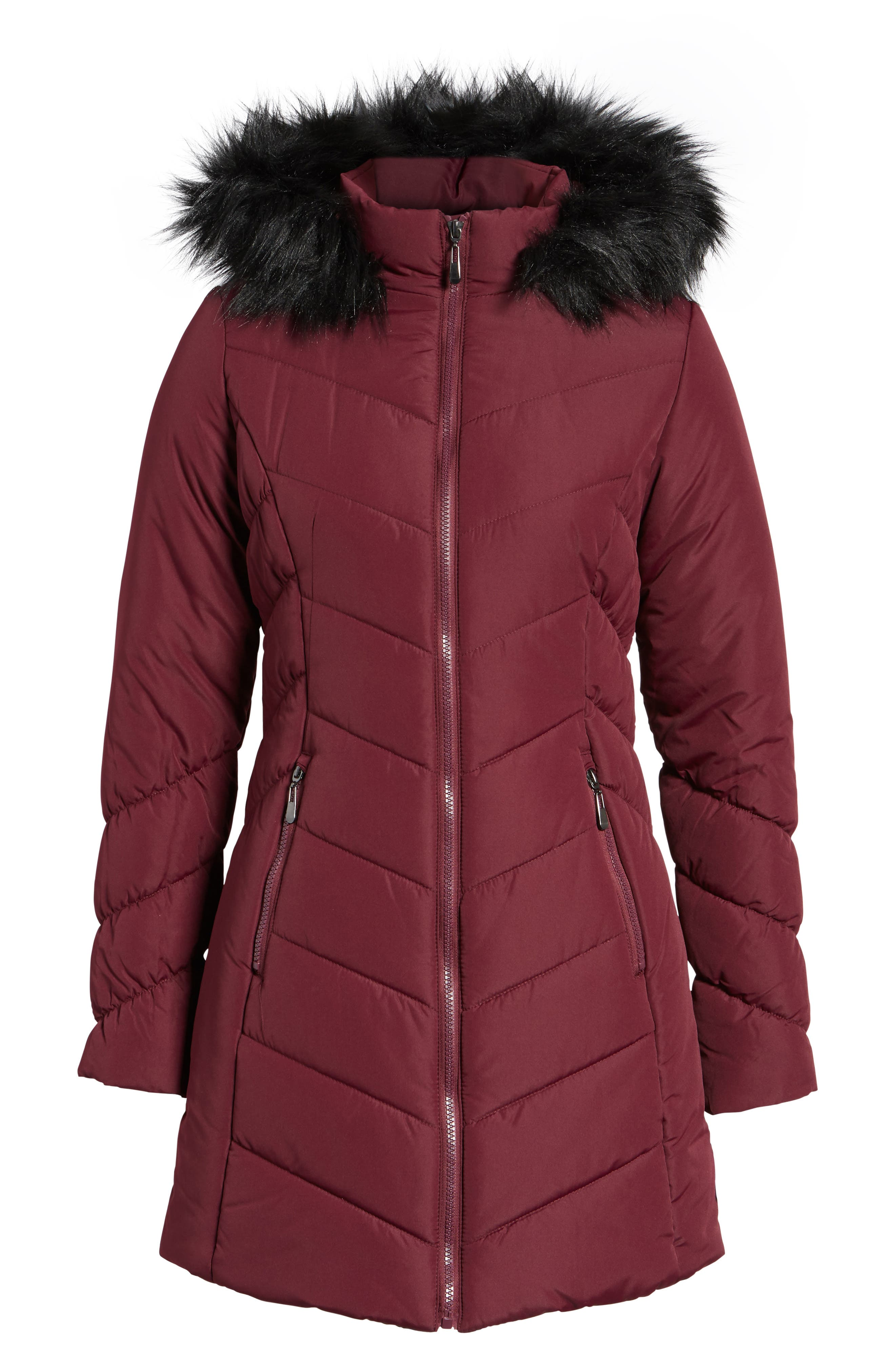 Faux Fur Trim Hooded Puffer Jacket,                             Alternate thumbnail 5, color,                             930