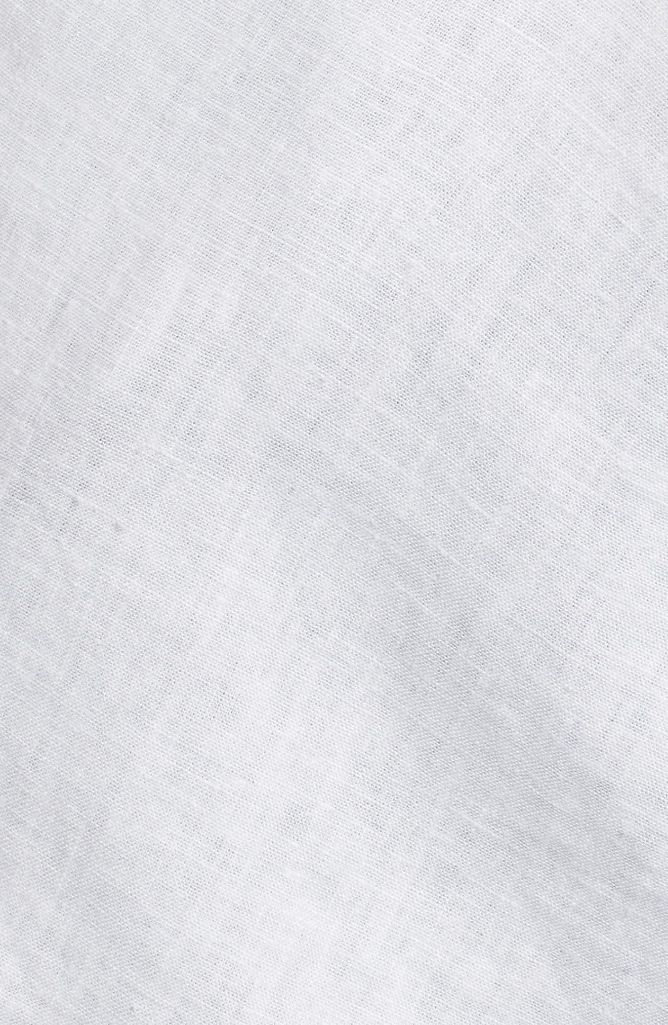 Twist Front Linen Blend Shirt,                             Alternate thumbnail 6, color,                             100