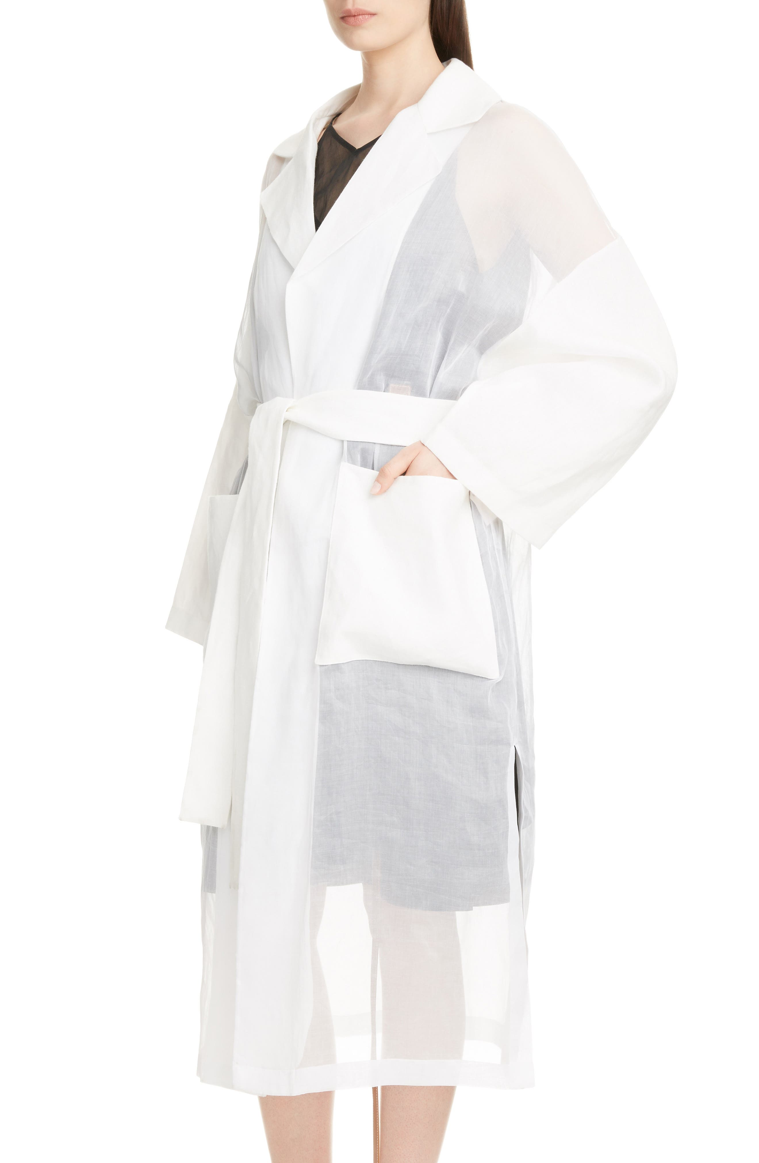 Sheer Cotton & Linen Trench Coat,                             Alternate thumbnail 4, color,                             WHITE