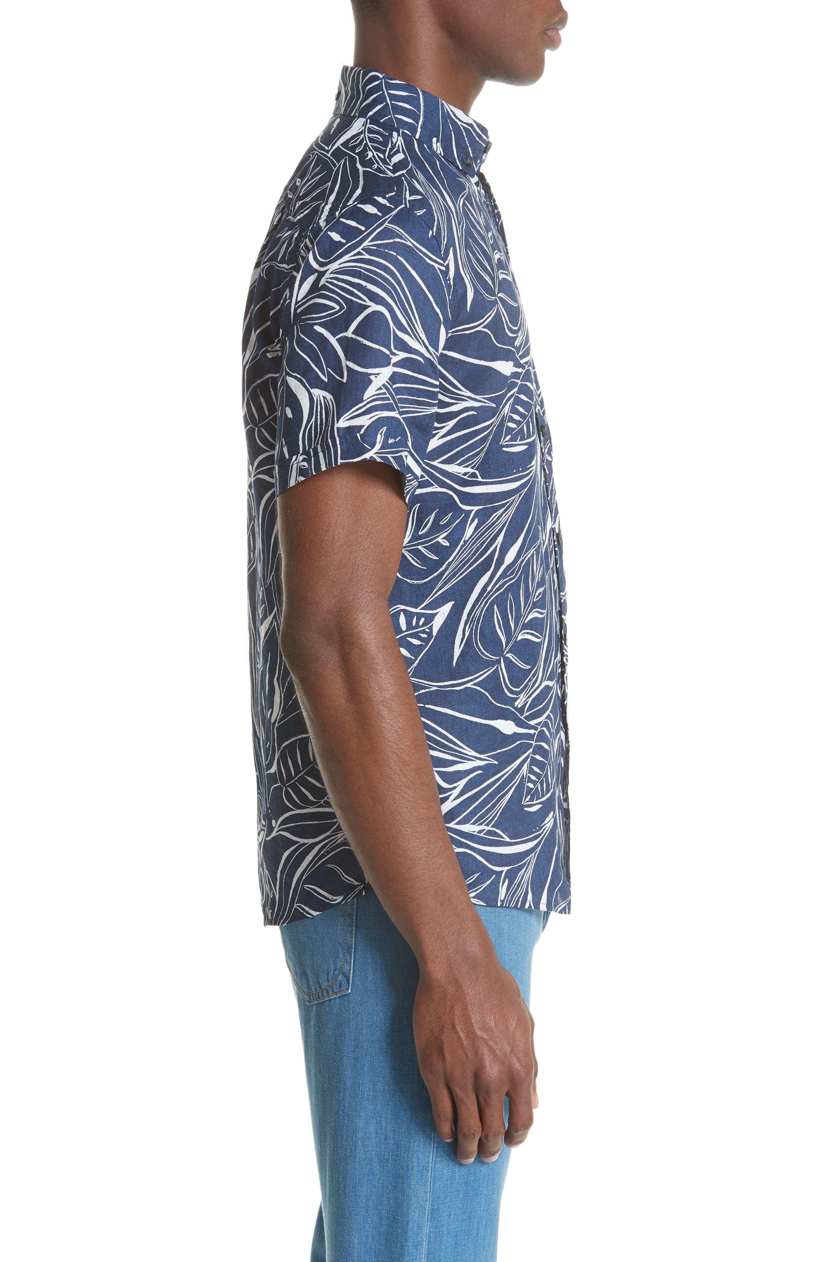 Jack Palm Print Linen Shirt,                             Alternate thumbnail 3, color,                             DEEP NAVY WHITE