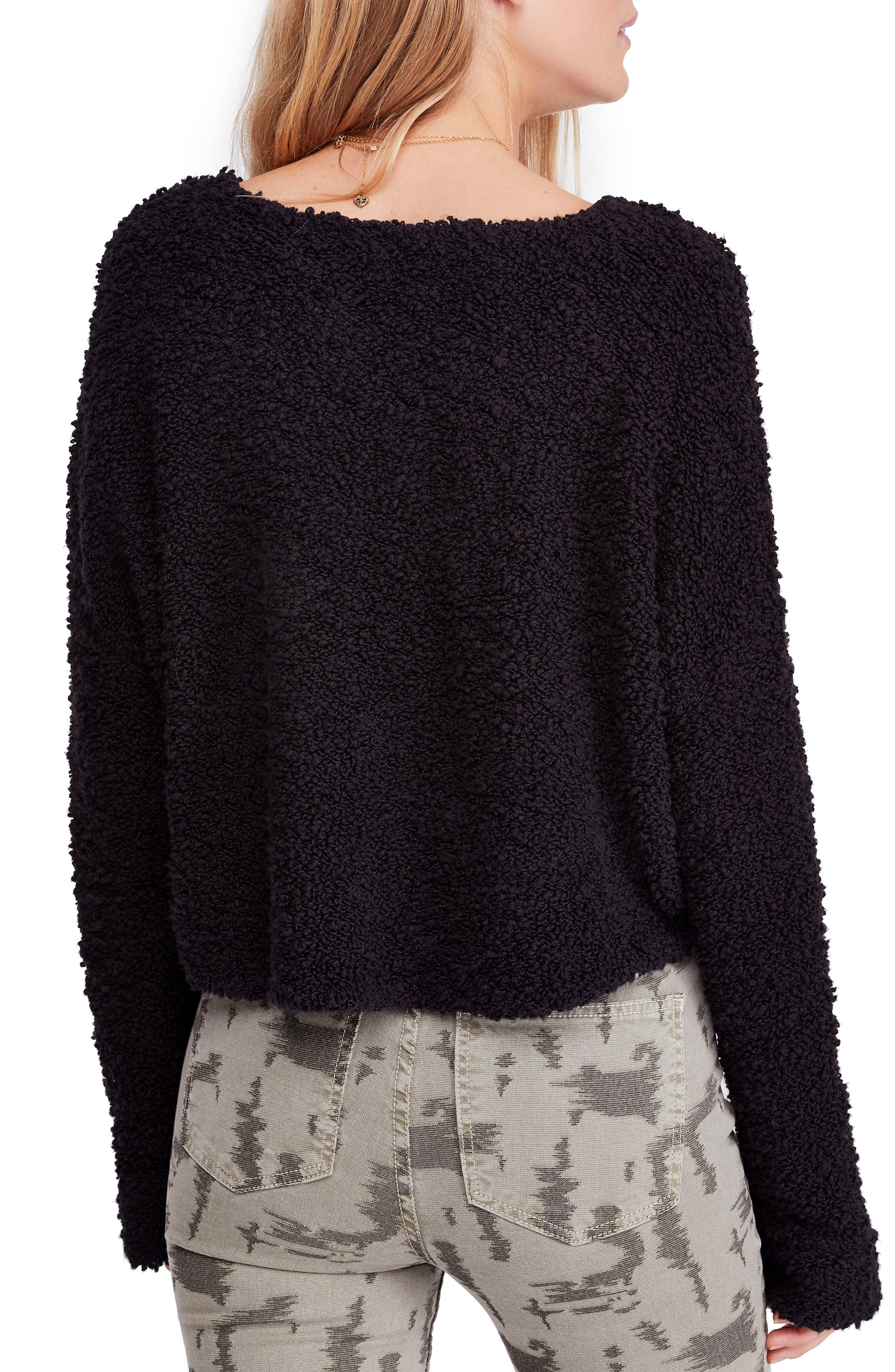 Popcorn Sweater,                             Alternate thumbnail 2, color,                             BLACK