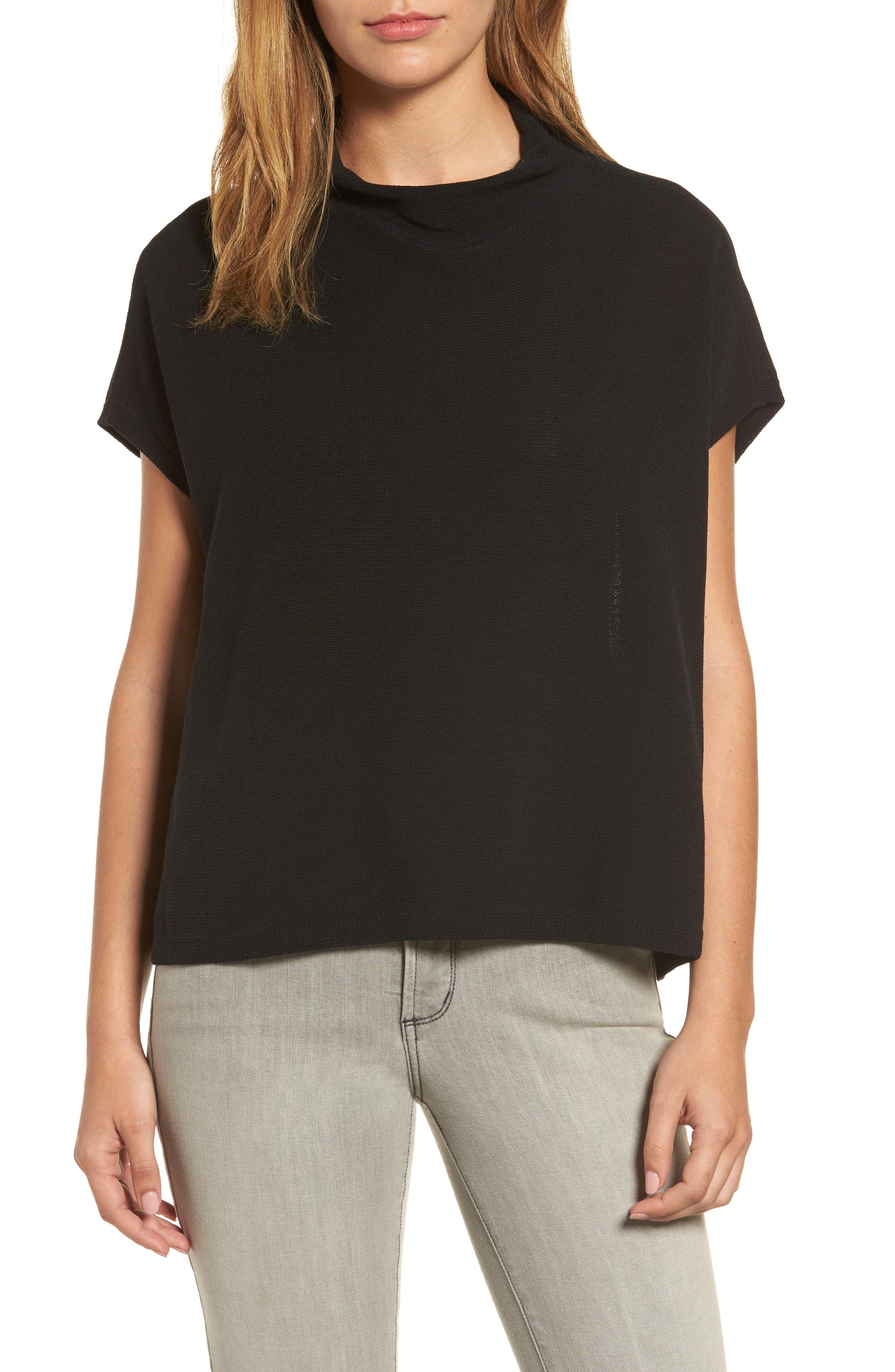 Organic Cotton Blend Funnel Neck Sweater,                         Main,                         color, 001