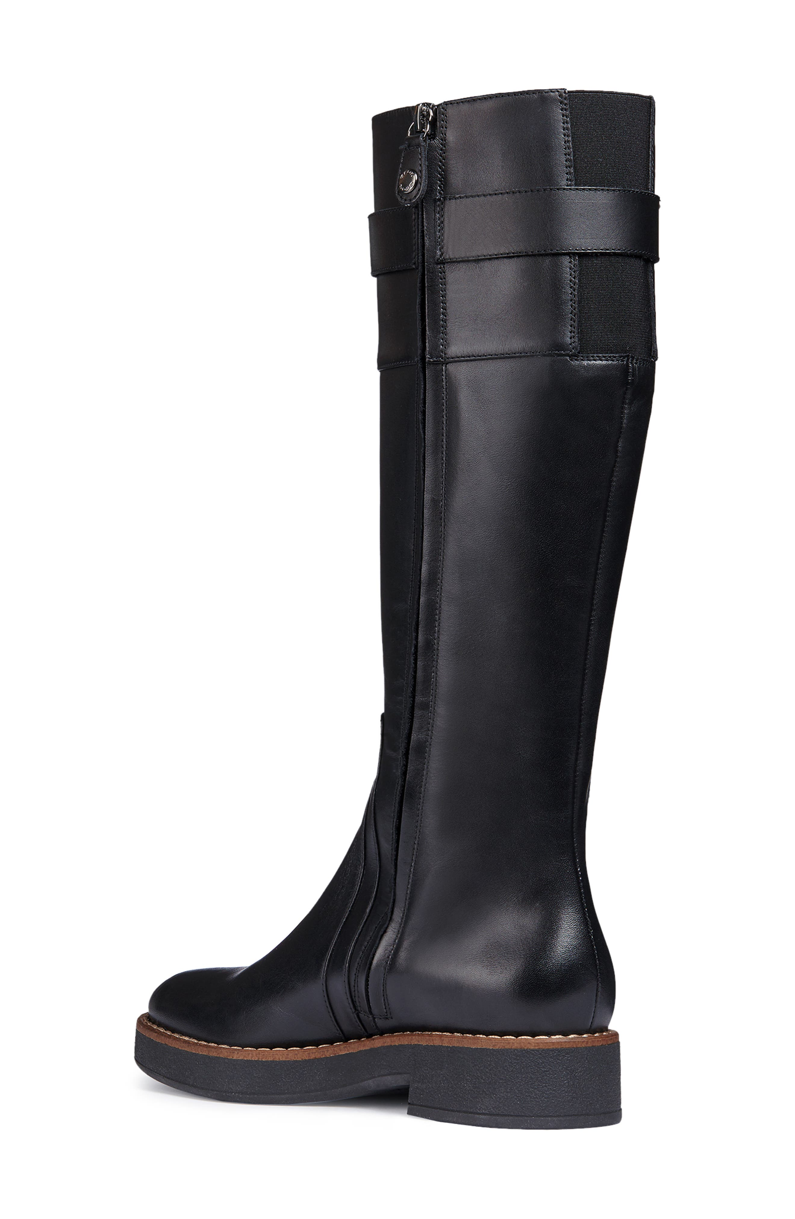 Adrya Knee High Boot,                             Alternate thumbnail 2, color,                             BLACK LEATHER