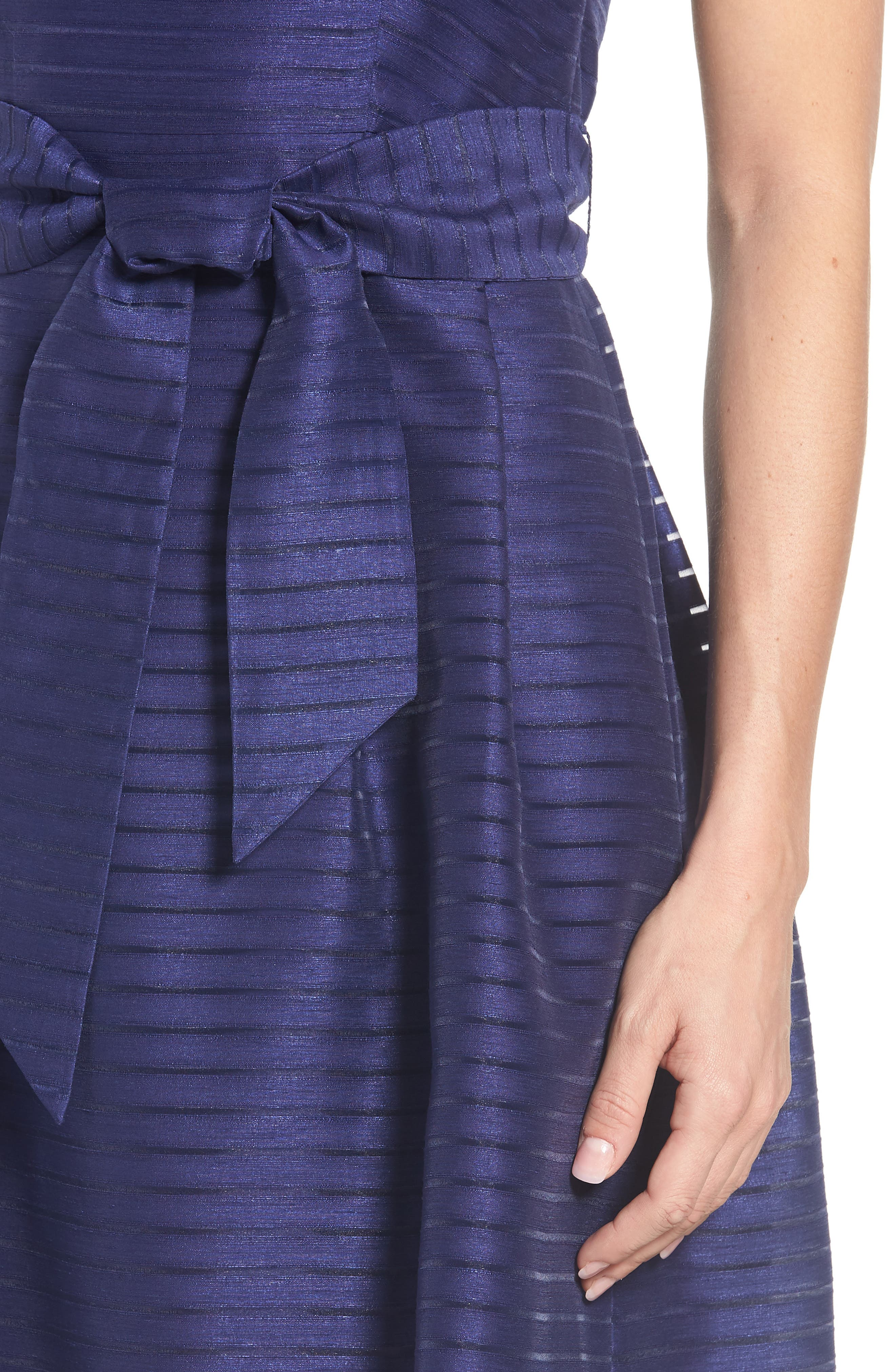 Shadow Stripe Fit & Flare Dress,                             Alternate thumbnail 12, color,