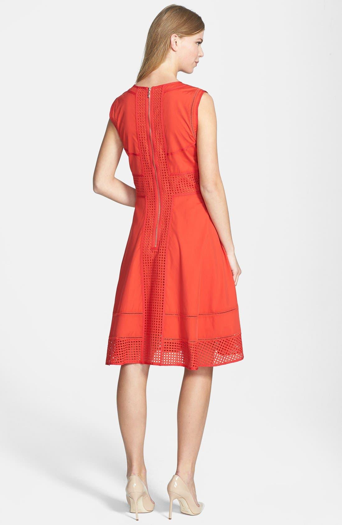 Rachel Roy Perforated Panel Cotton & Silk Poplin Dress,                             Alternate thumbnail 3, color,                             800