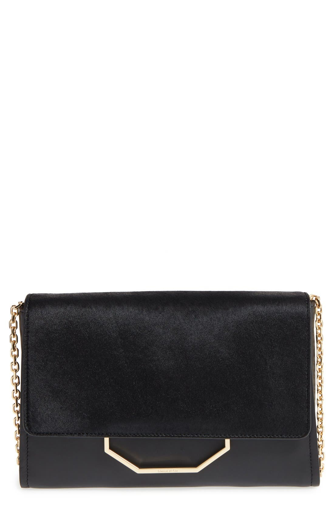 'Towa' Leather Clutch, Main, color, 001