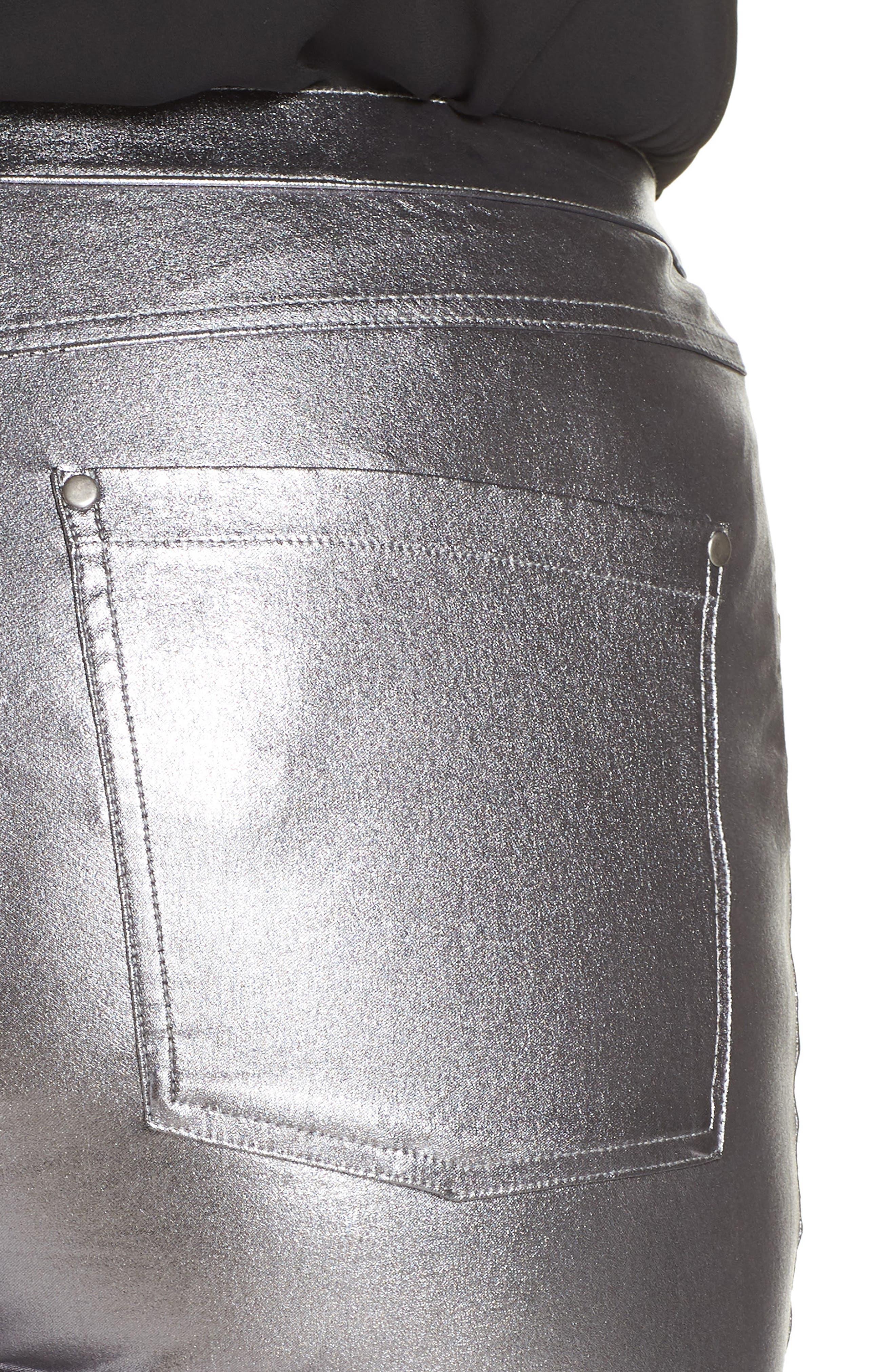 HUE,                             Metallic Denim Leggings,                             Alternate thumbnail 4, color,                             021